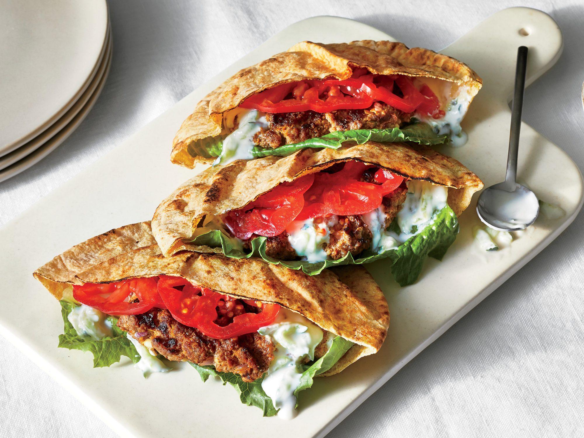 Grilled Lamb and Feta Pita Sandwiches