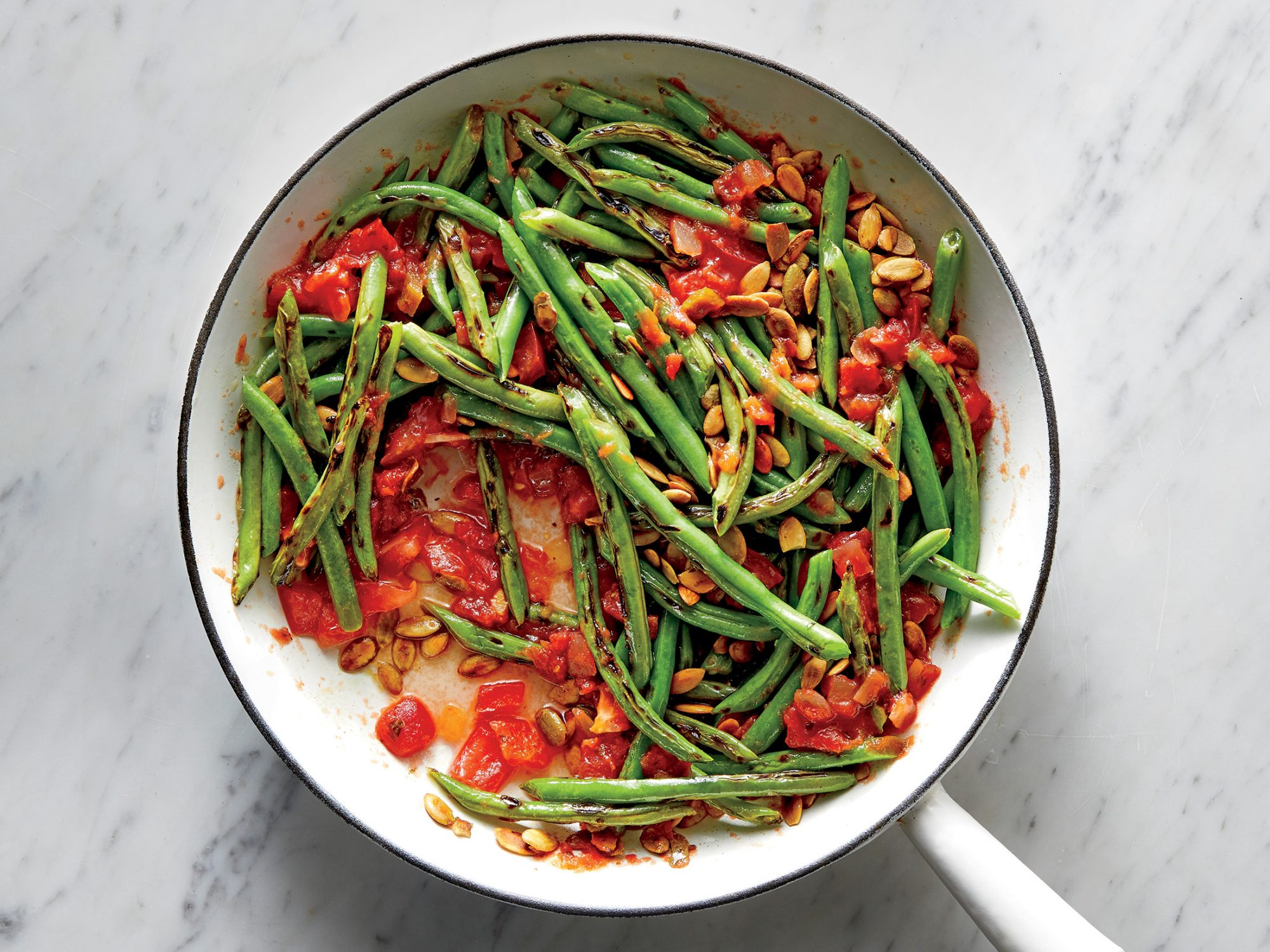 Skillet-Charred Green Beans with Salsa