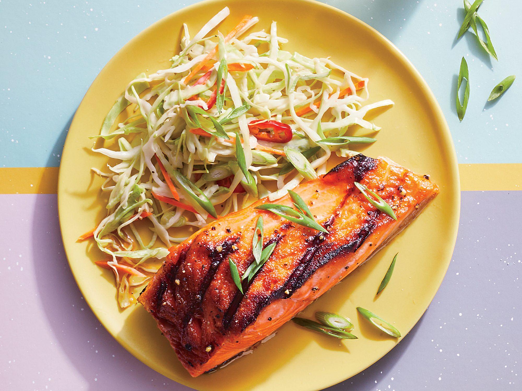 Bourbon-Glazed Salmon with Firecracker Slaw