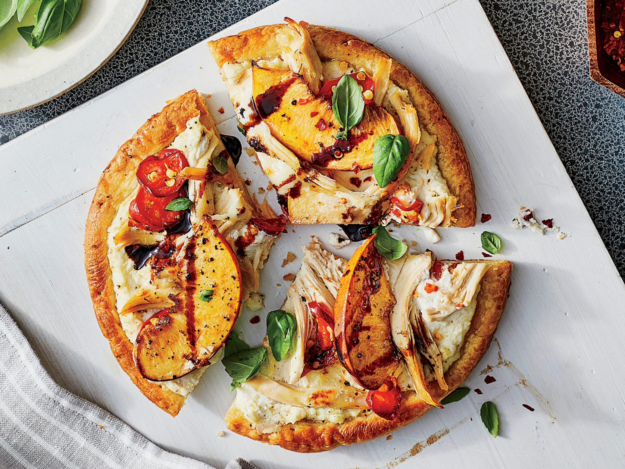 Chicken and Peach Flatbreads
