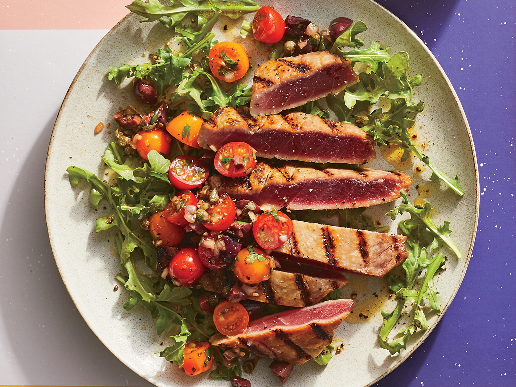 Grilled Tuna with Chunky Tapenade Salsa