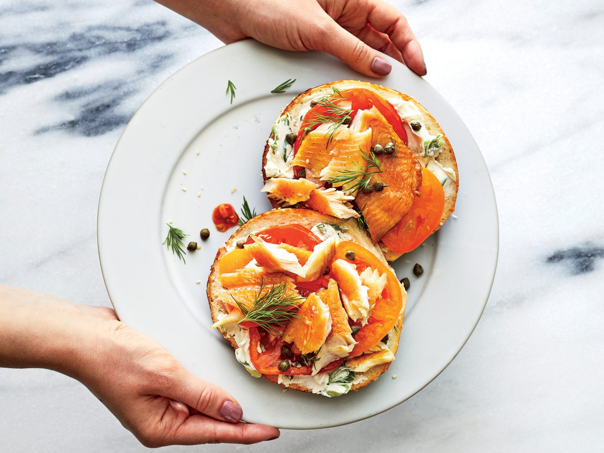 Hot-Smoked Trout On Sesame Bagels