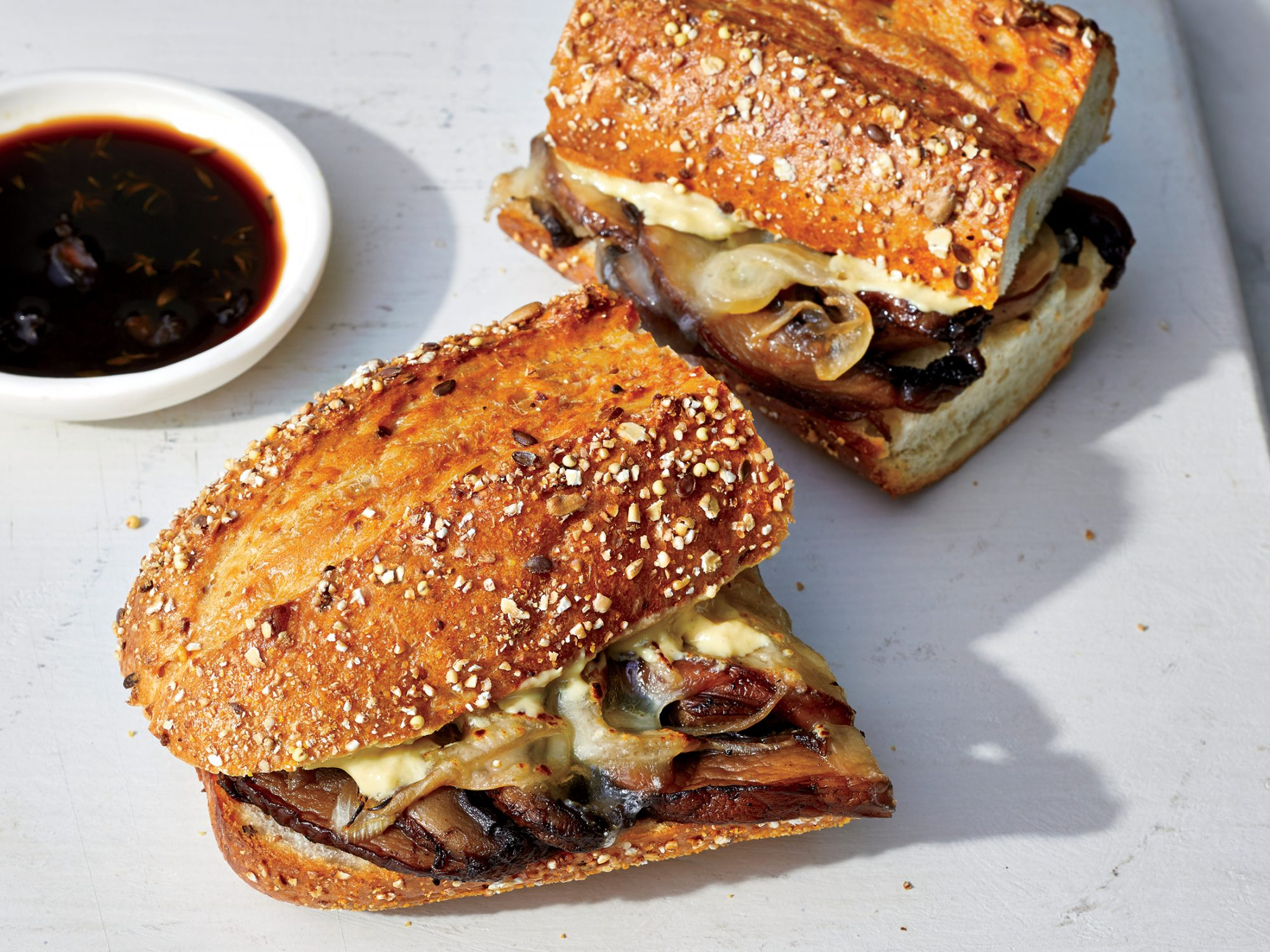 Plant-Based Mushroom French Dip Sandwiches