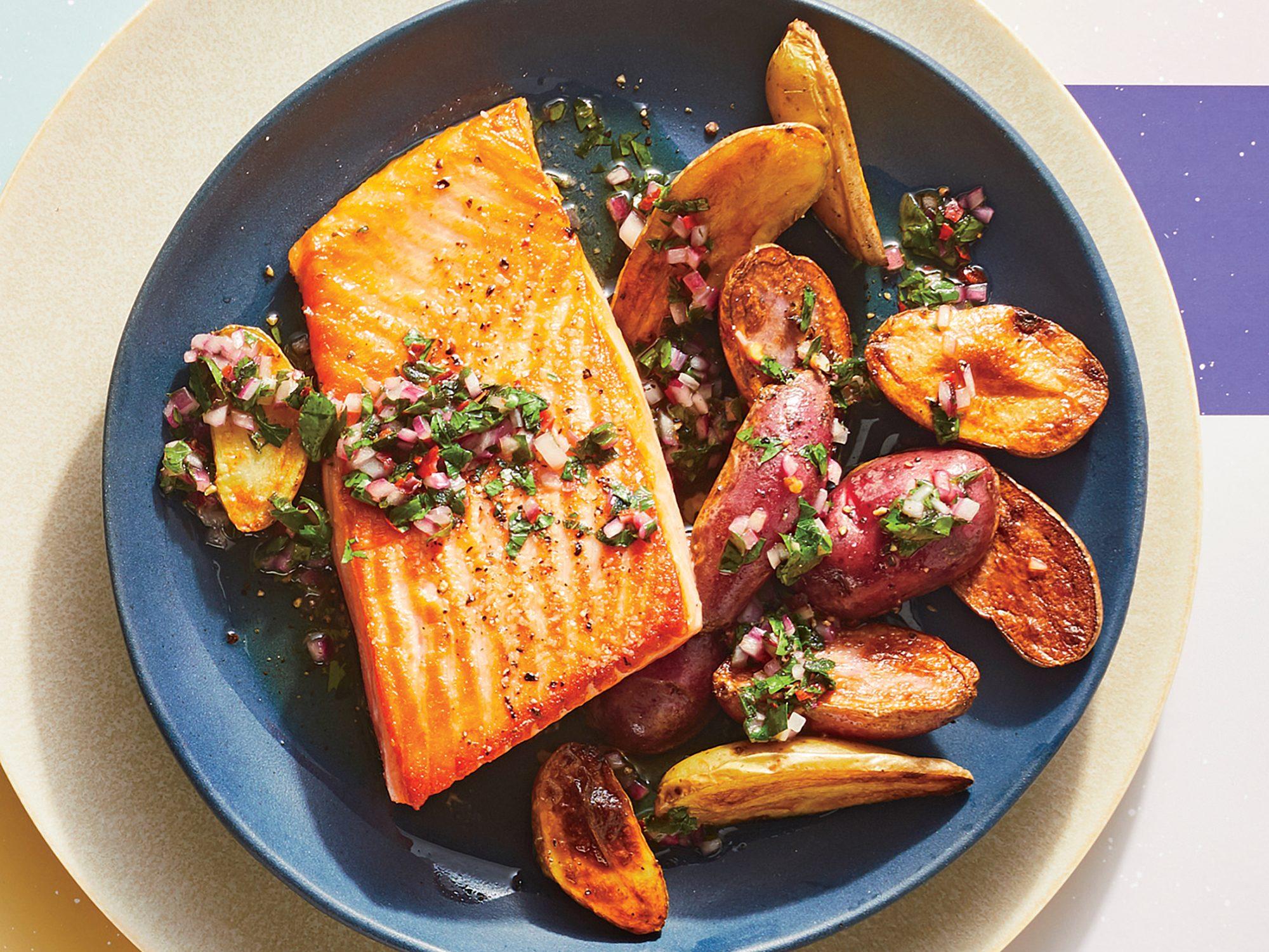 Sautéed Salmon with Chimichurri and Potatoes