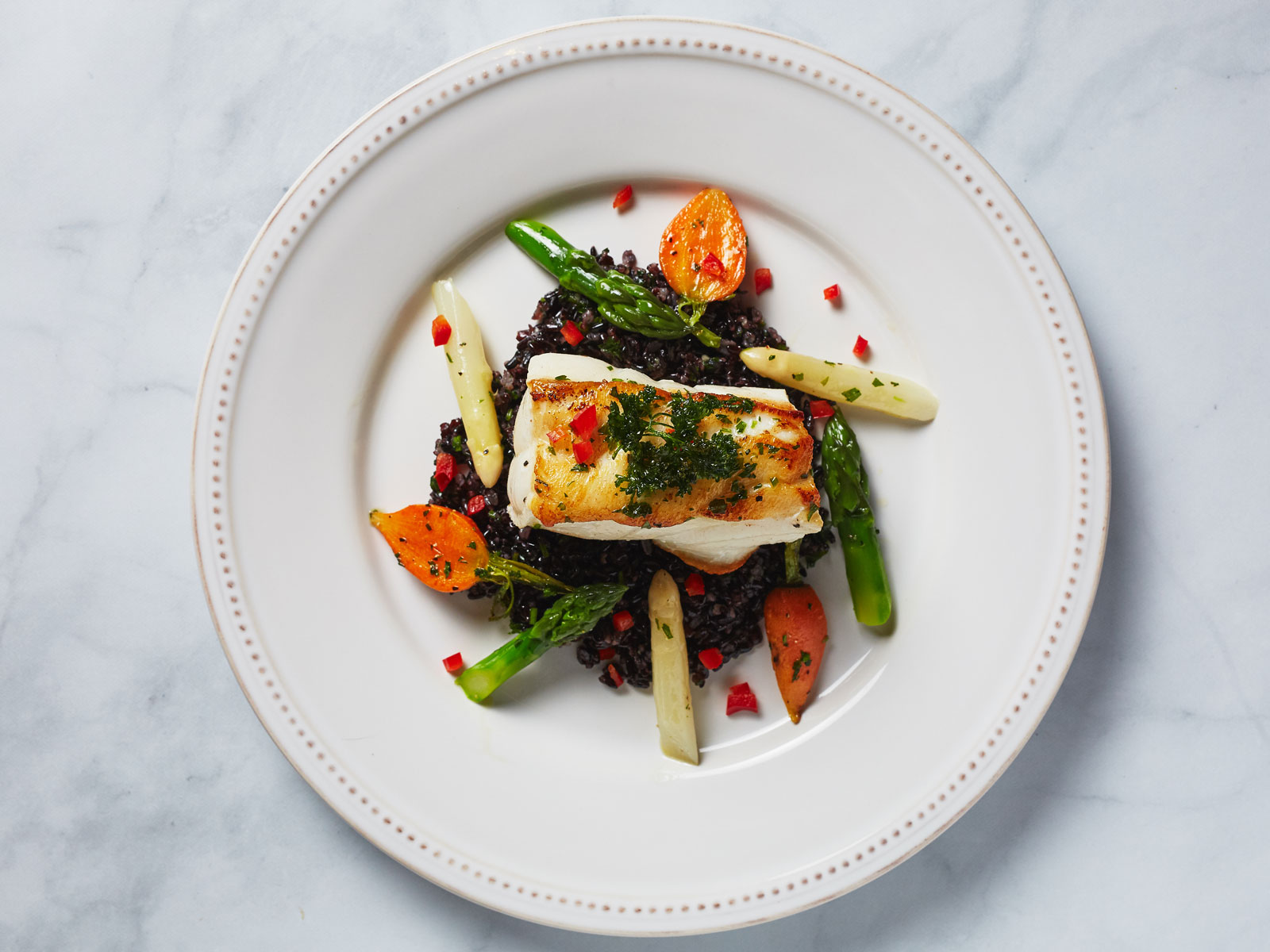 Chilean Seabass with Forbidden Black Rice and Globe Carrots