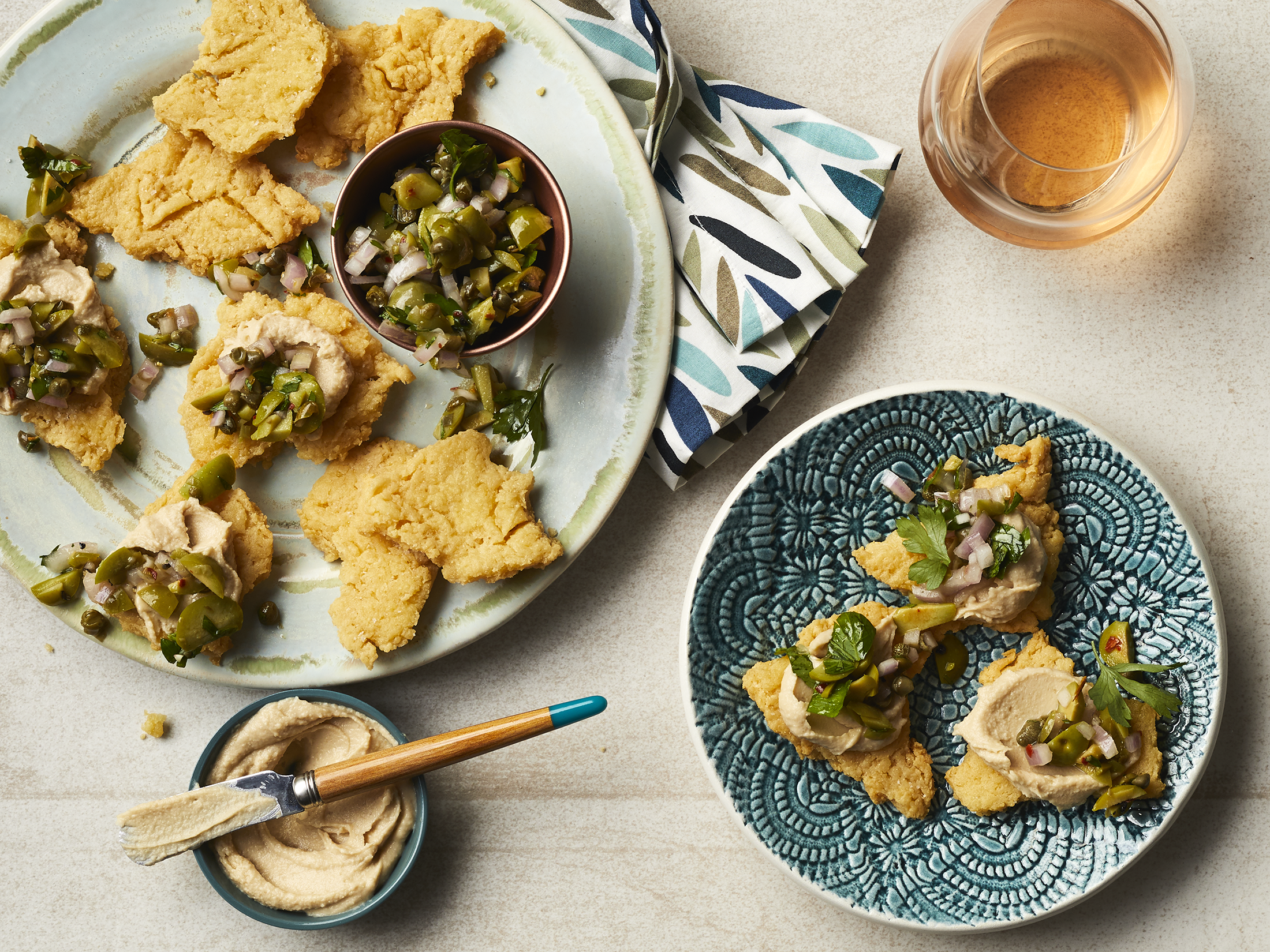 Chickpea Crackers with Chunky Tapenade