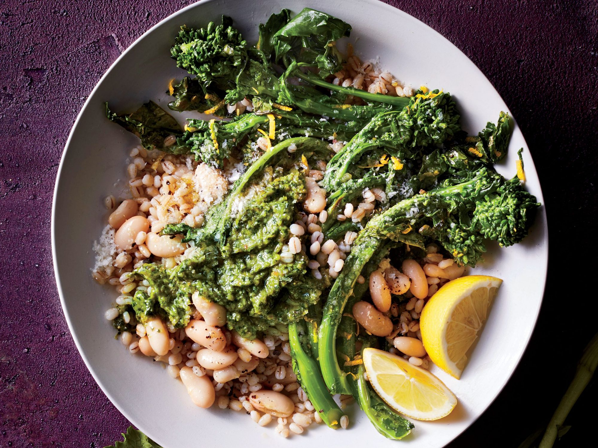 Broccoli Rabe and Barley Bowl with Cilantro Pesto