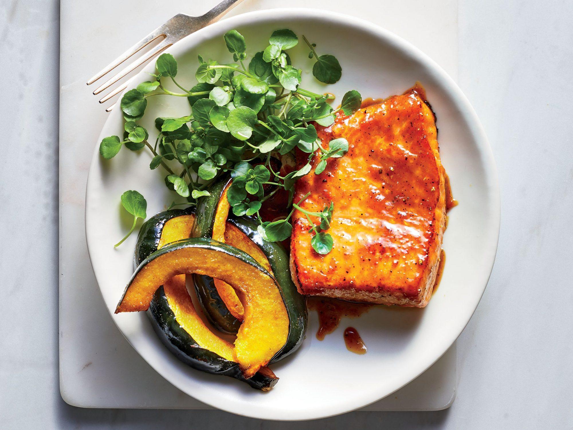 Maple-Miso Salmon with Acorn Squash
