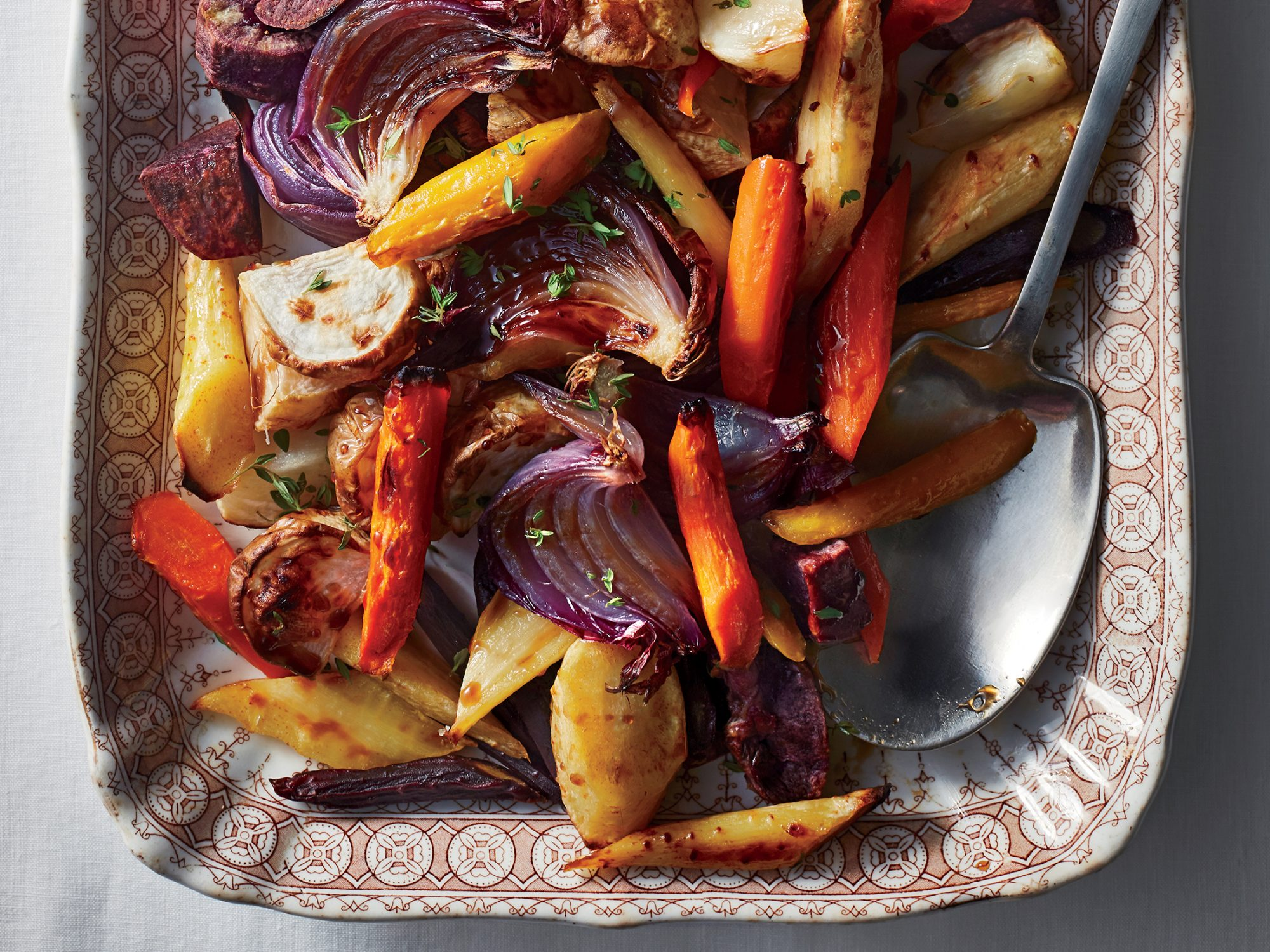 Roasted Root Vegetables With Balsamic-Maple Glaze