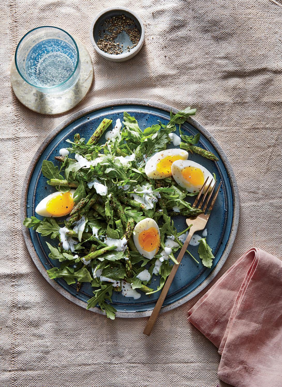 Arugula, Egg, and Charred Asparagus Salad