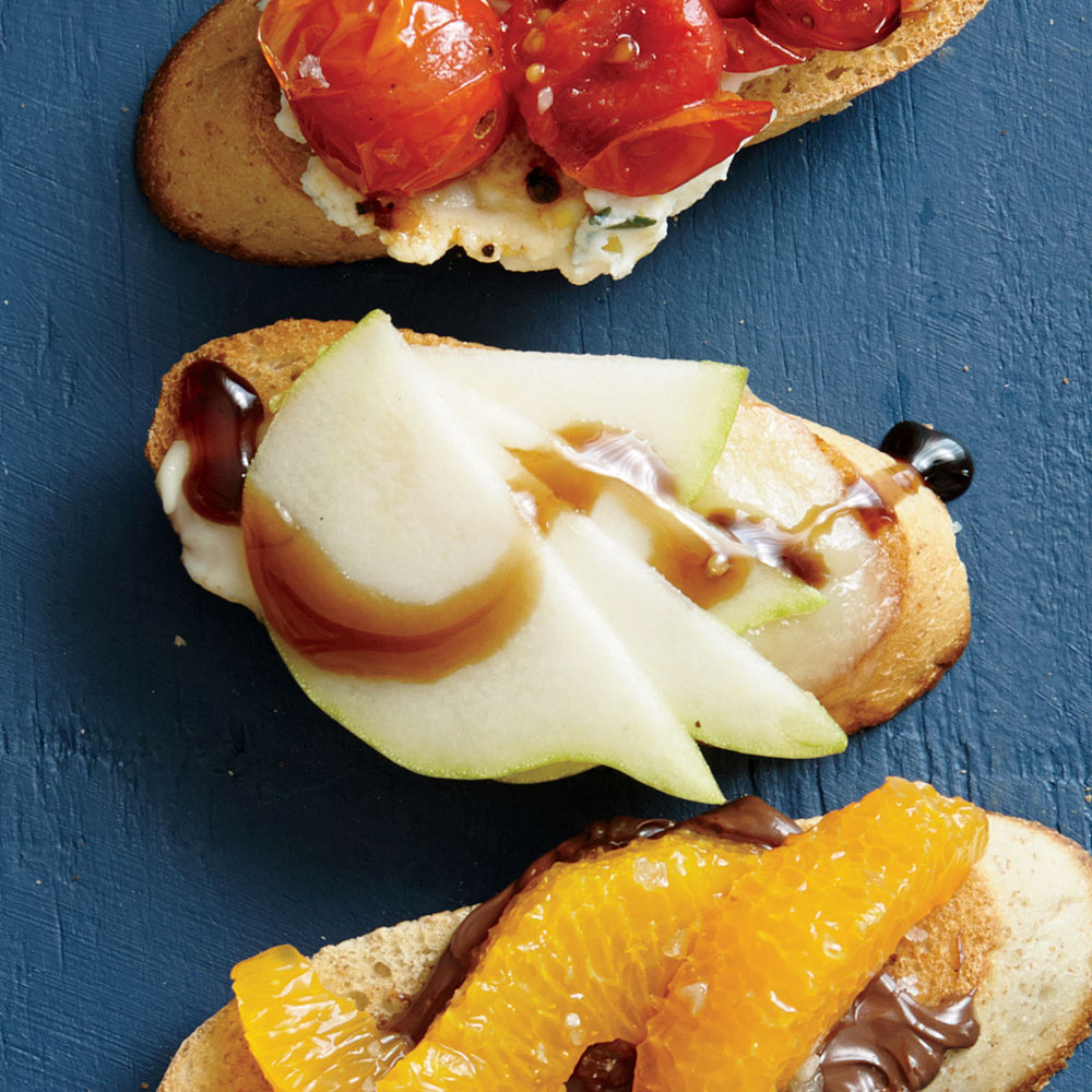 Pear, Brie, and Balsamic Bruschetta