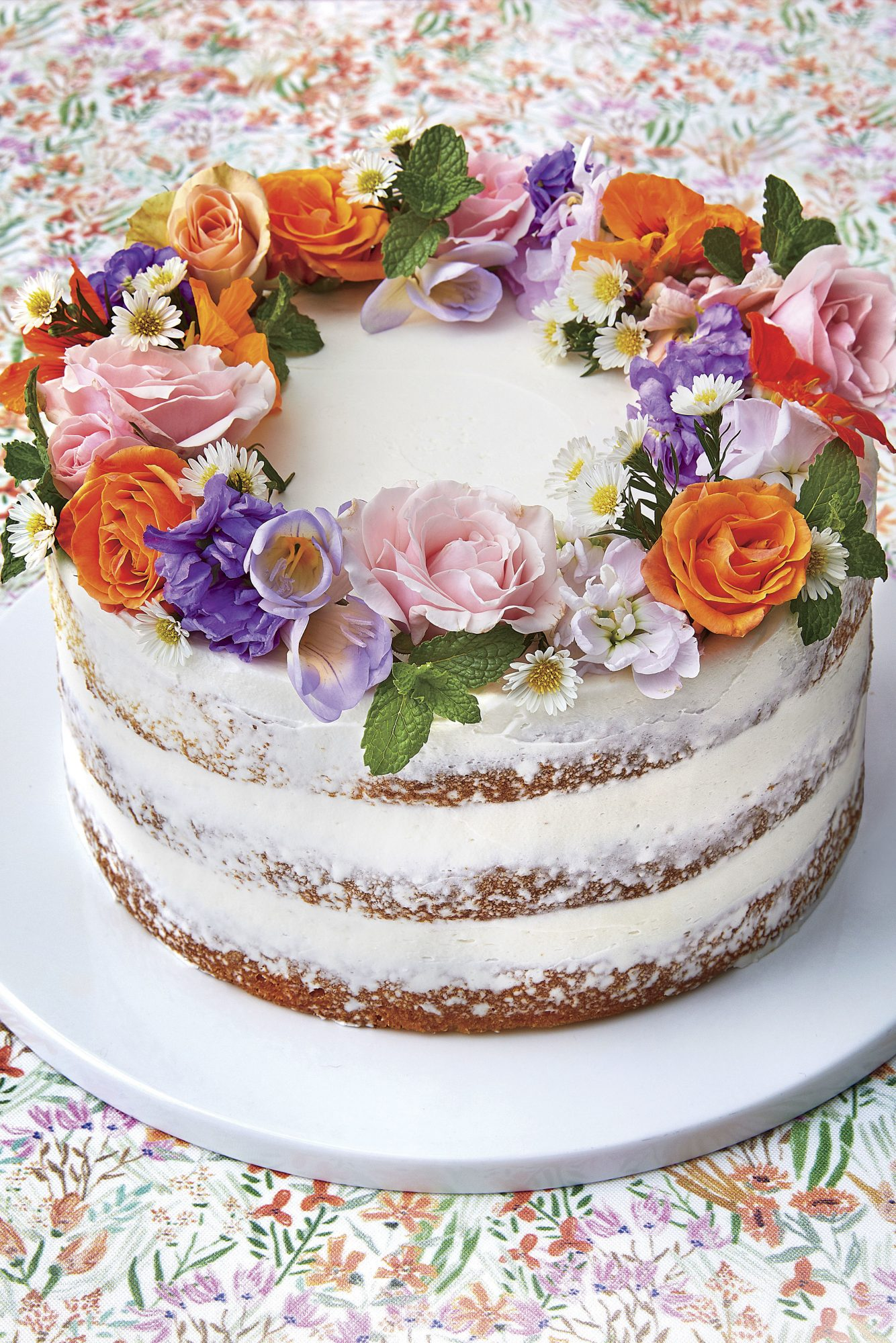Lemon Naked Cake with Flower Crown