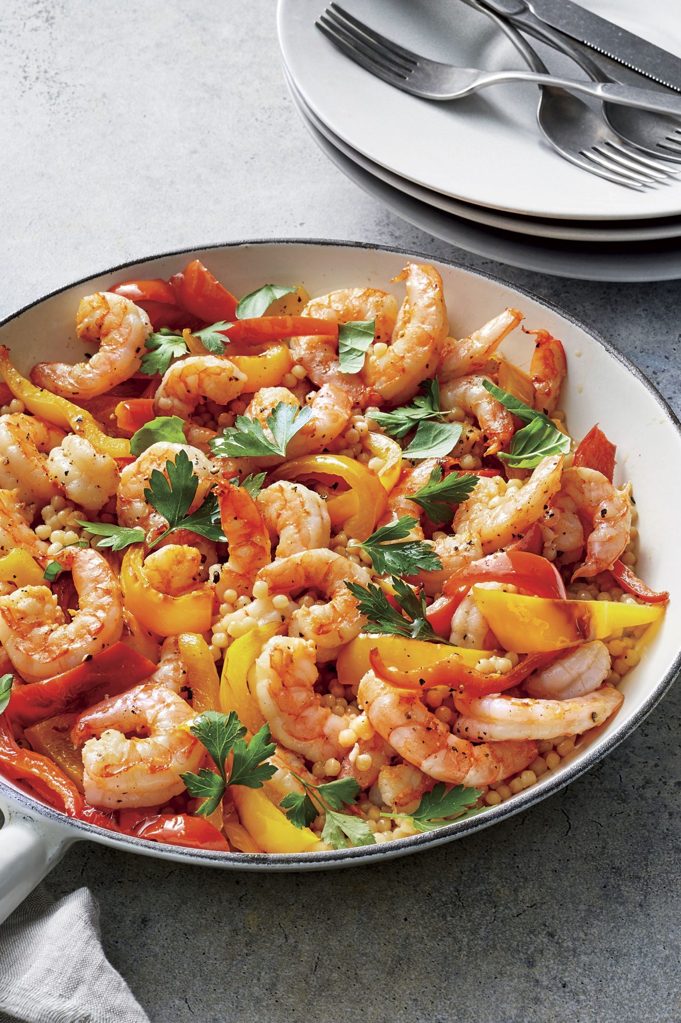 Toasted Israeli Couscous and Shrimp