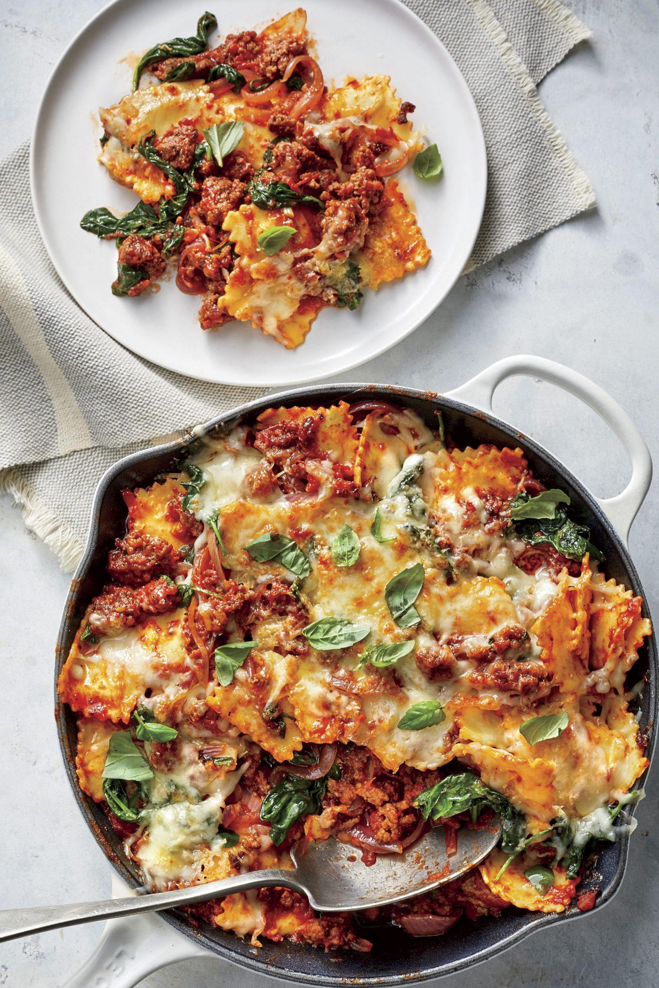 Beefy Baked Ravioli with Spinach and Cheese