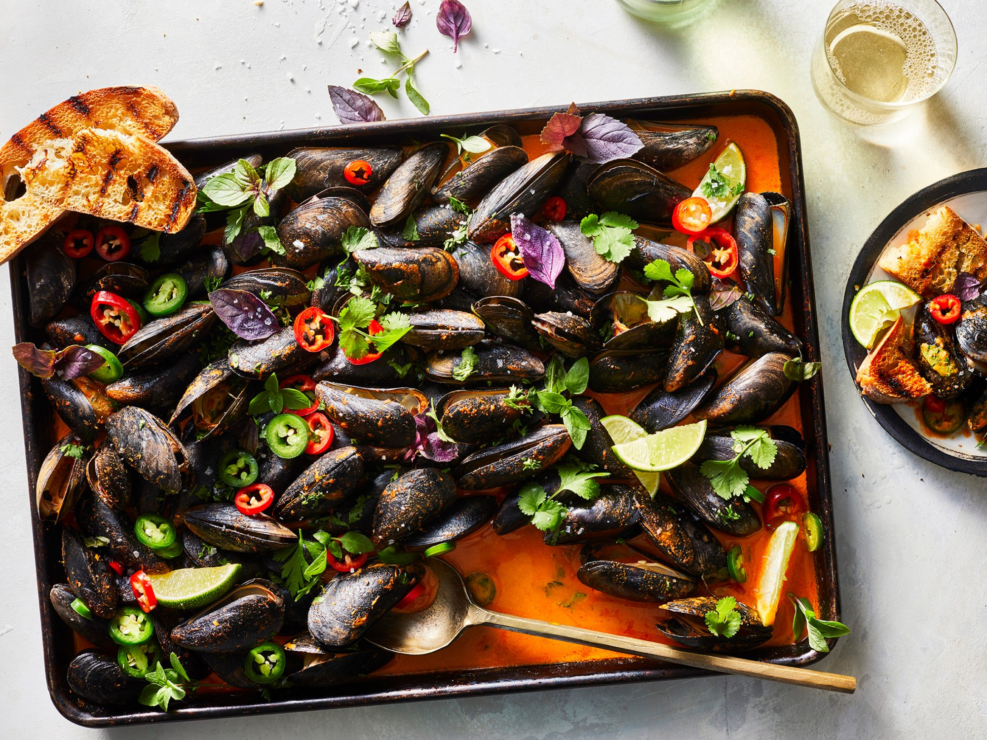 Sheet Pan Thai Red Curry Mussels