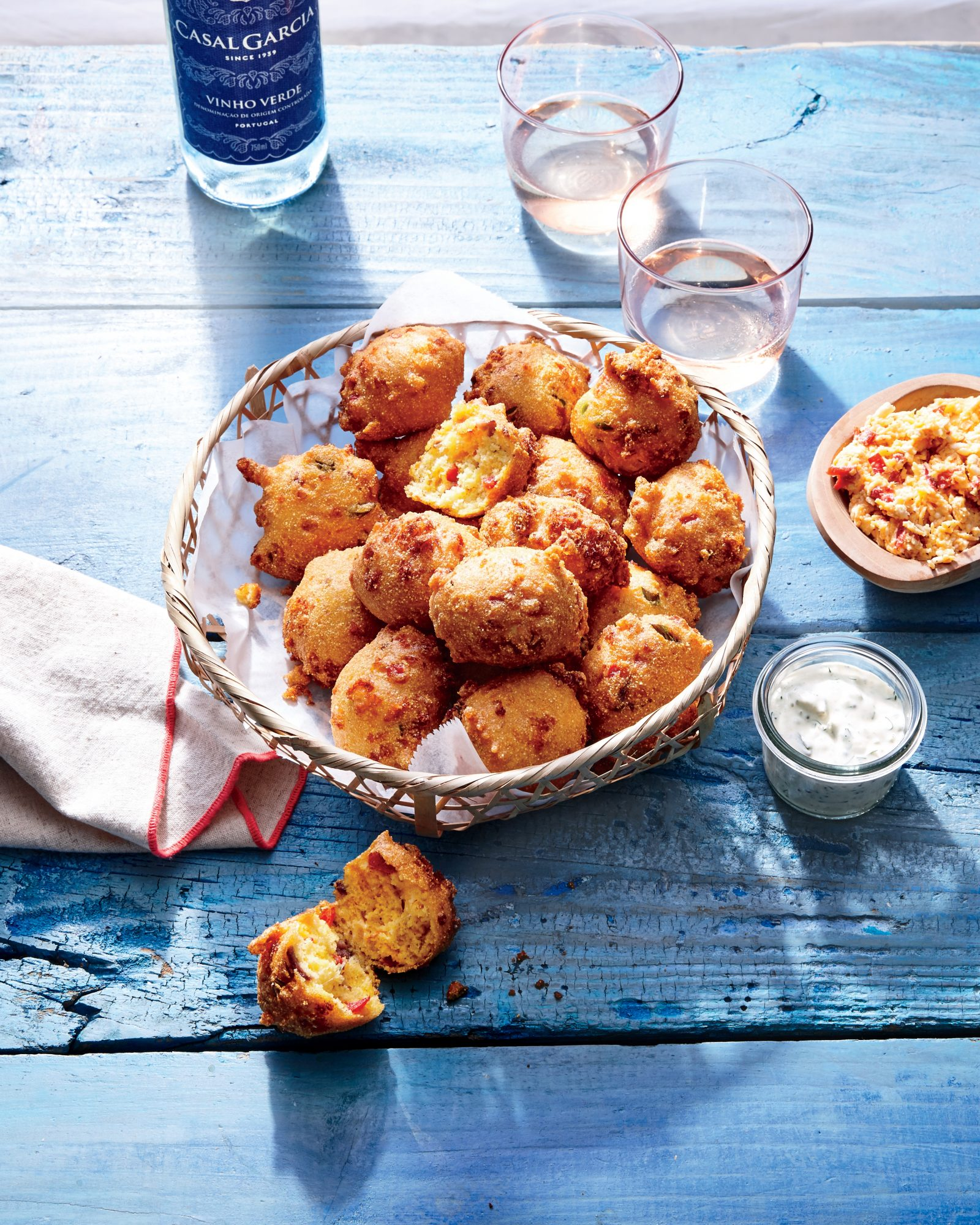 cl-Smoked Pimiento Cheese Hush Puppies with Pickled-Okra Tartar Sauce