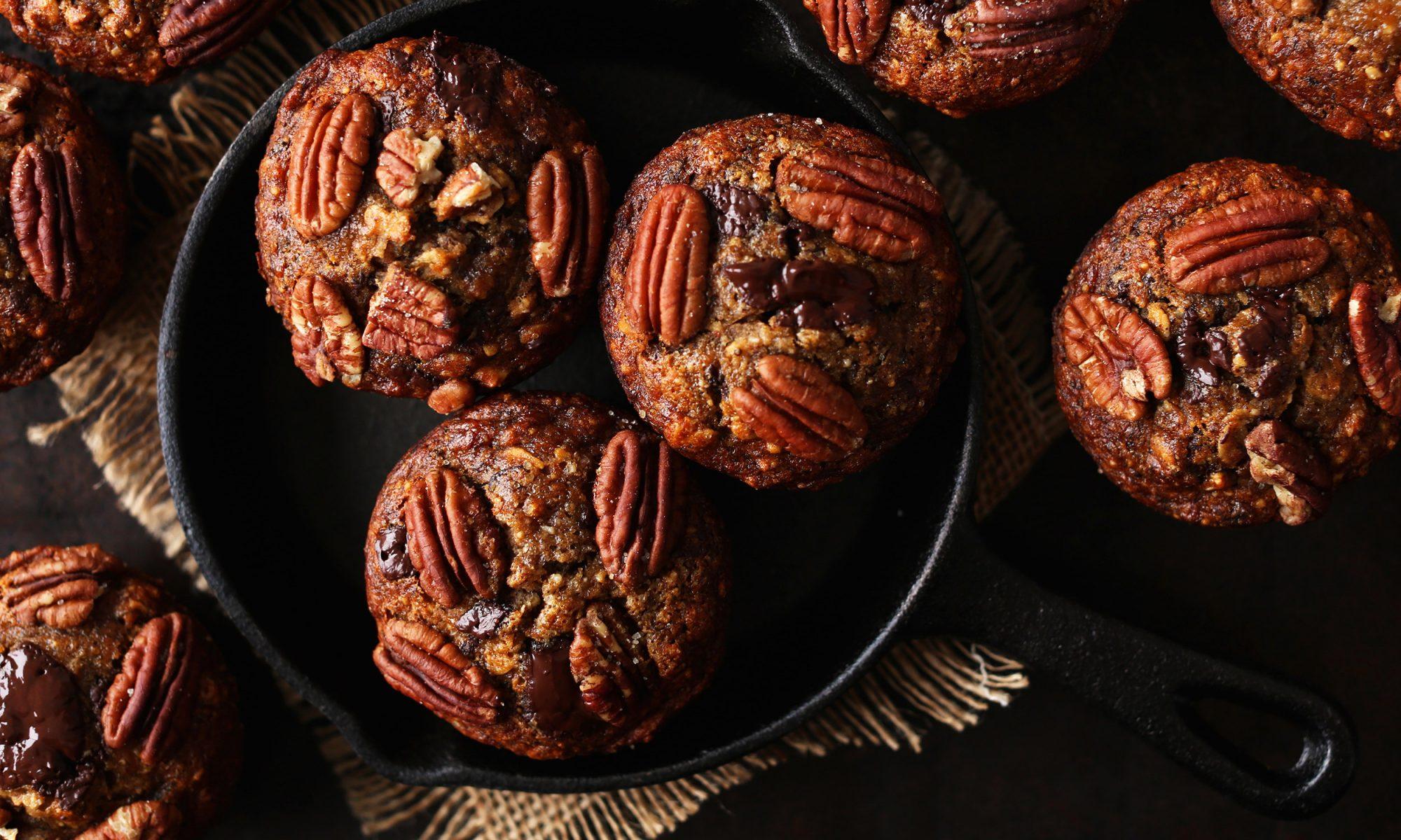 EC: Gluten-Free Vegan Banana Chocolate Pecan Muffins FTW
