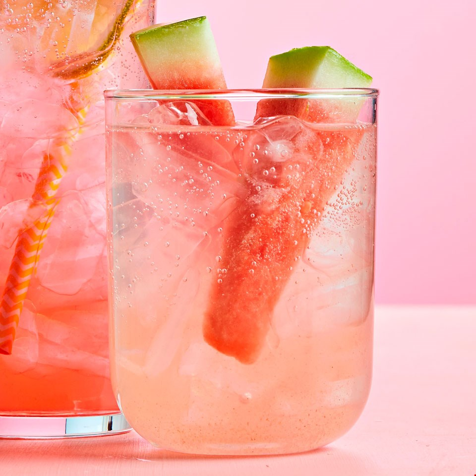 watermelon cucumber basil seltzer on ice
