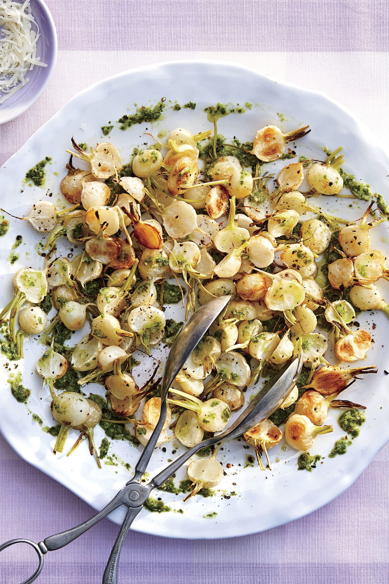 Roasted Baby Turnips with Turnip Green Pesto
