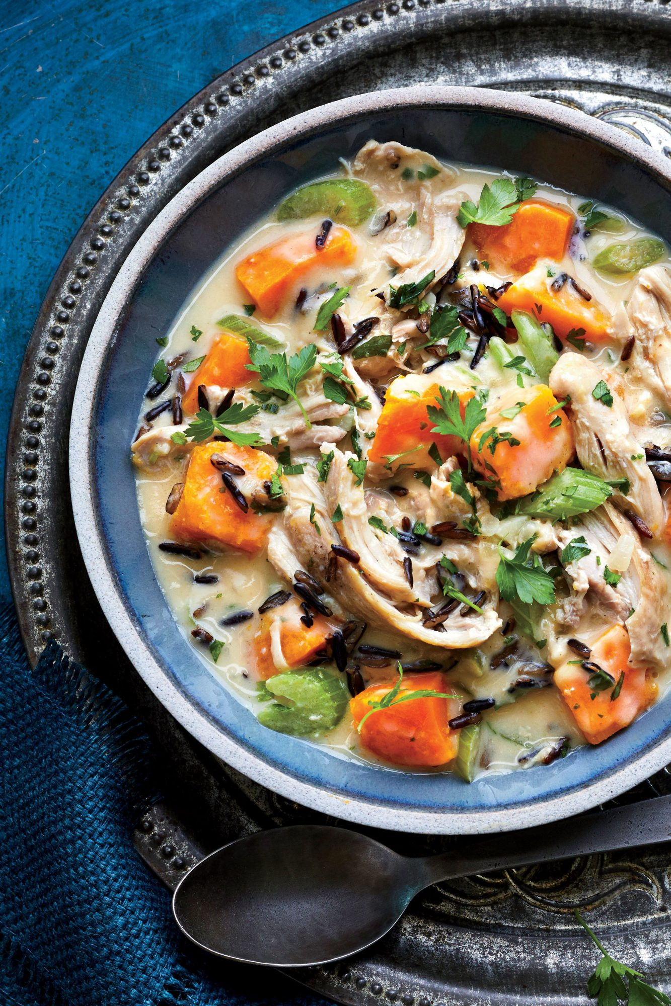 Slow-Cooker Chicken Stew with Pumpkin and Wild Rice