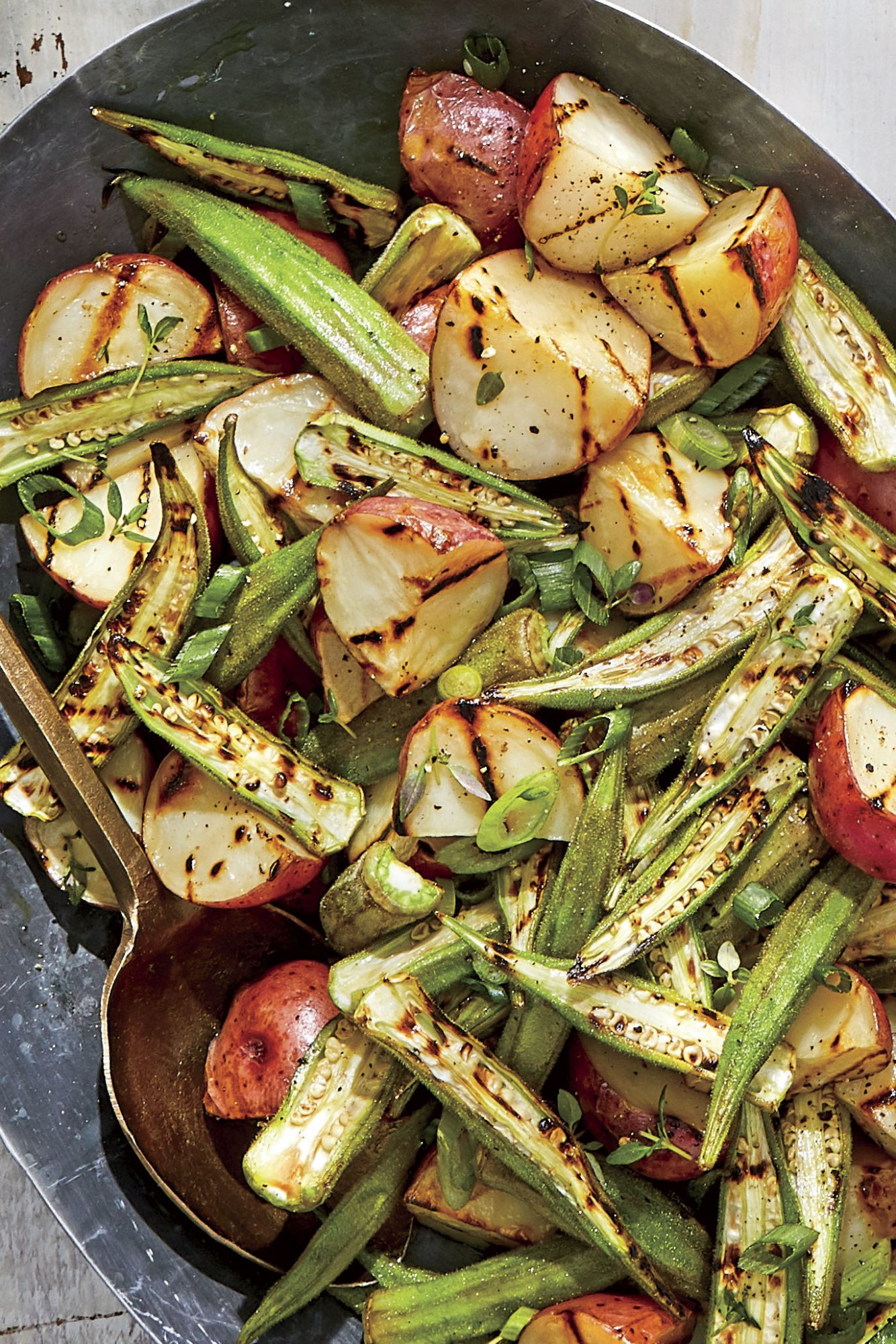 Charred Okra-Potato Salad