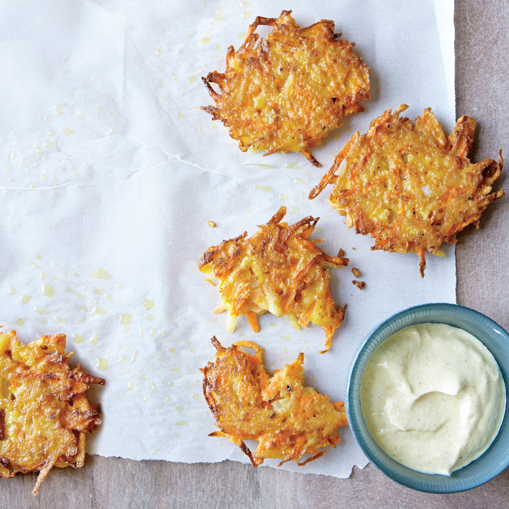 Potato and Carrot Pancakes with Curry Sauce