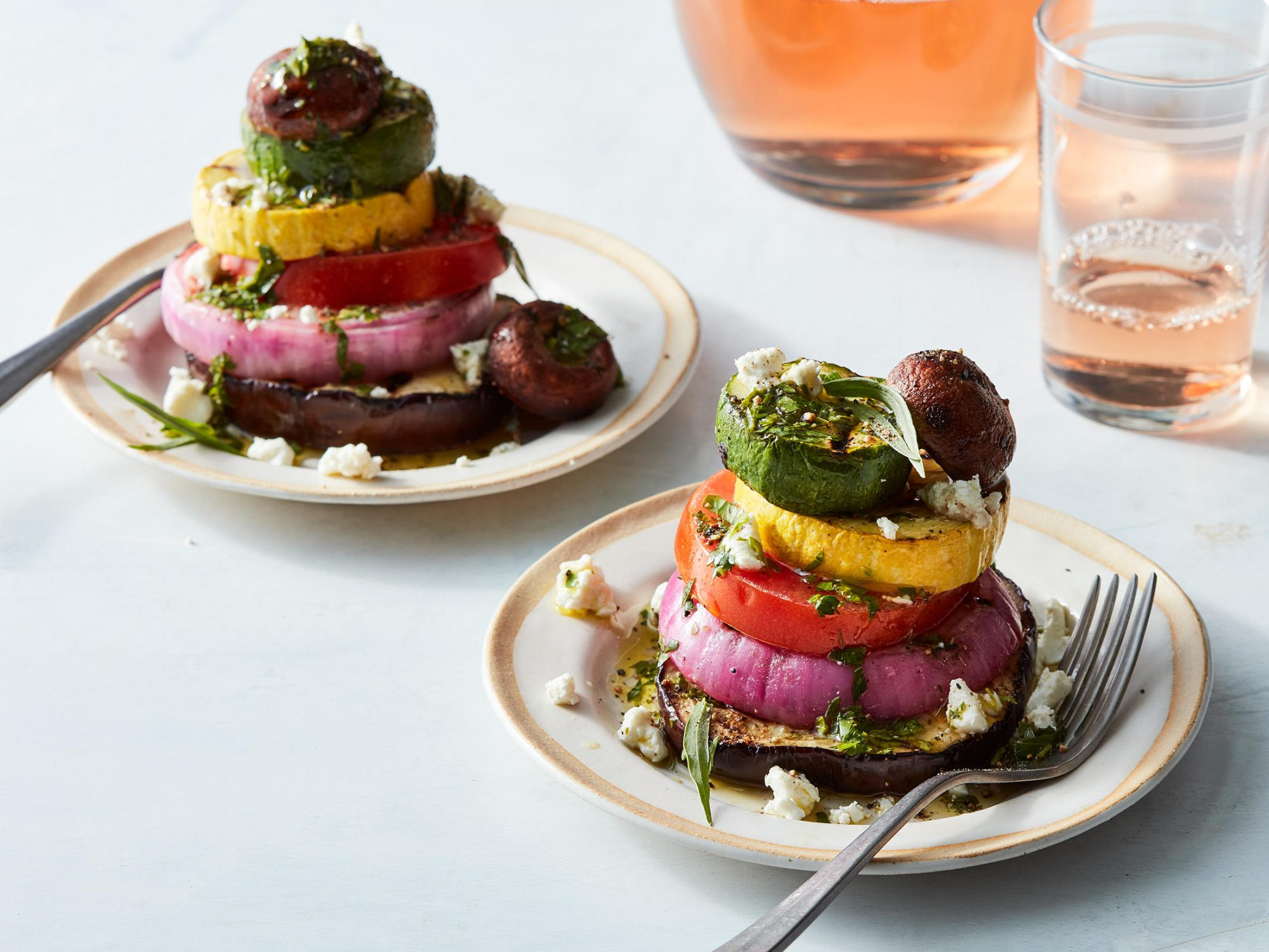 Grilled Vegetable Stacks With Herb Vinaigrette