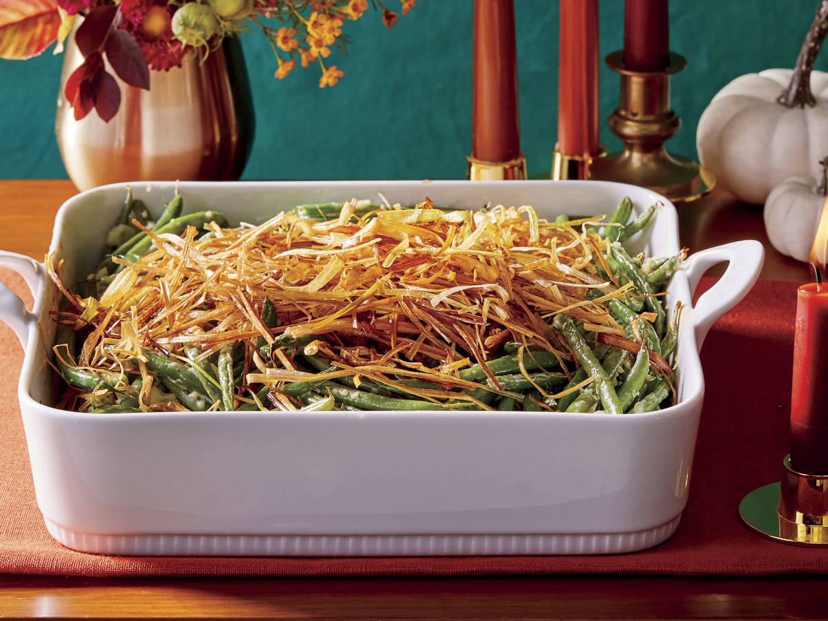 Homemade Green Bean Casserole with Crispy Leeks