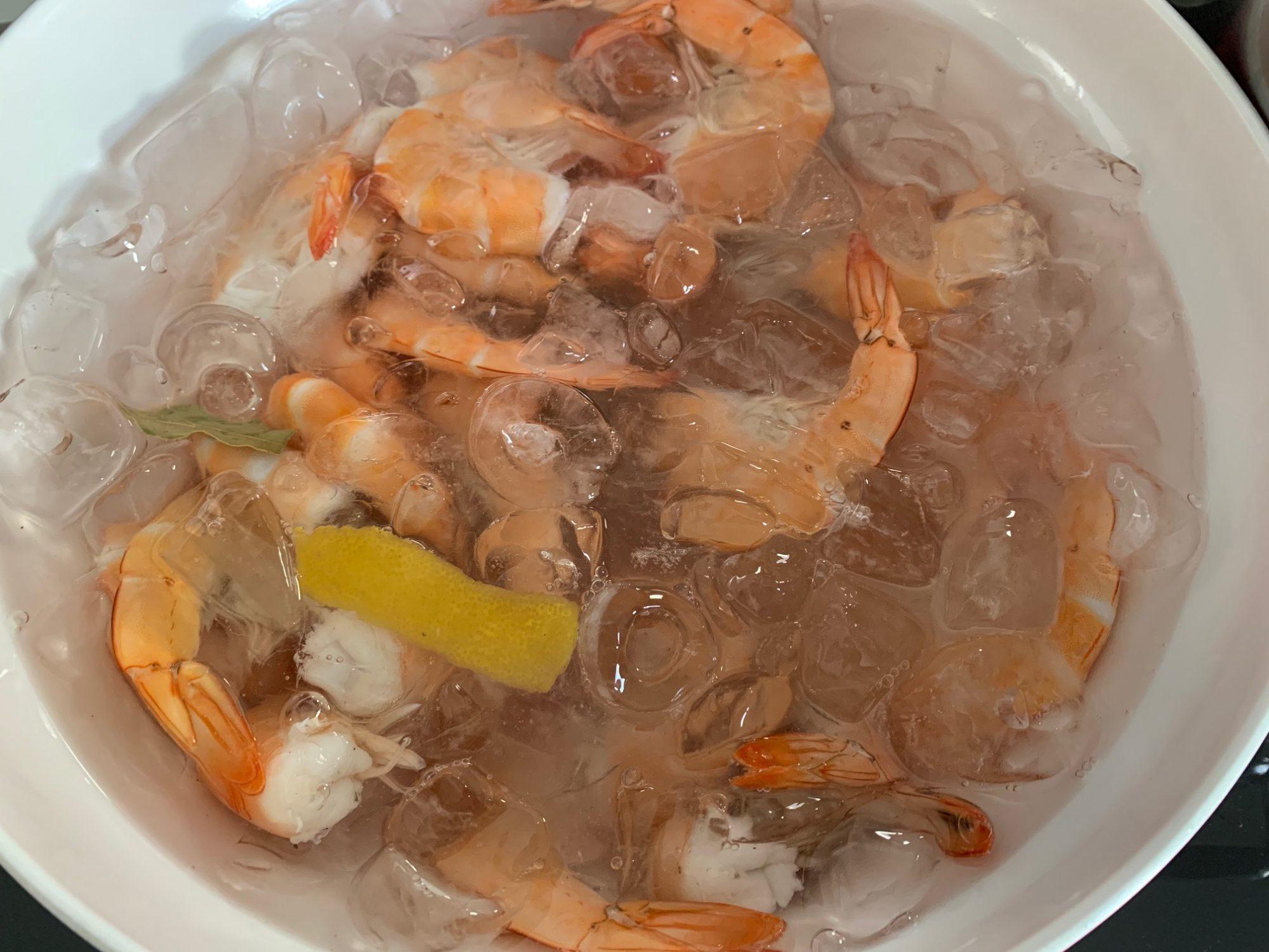 shrimp in ice water
