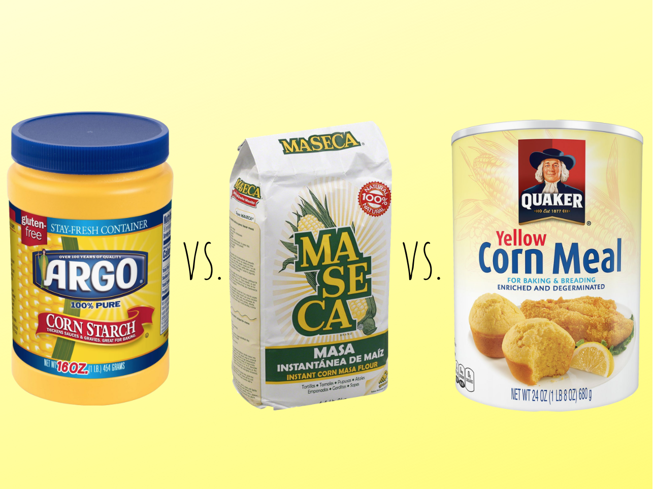 Cornstarch vs. Corn Flour vs. Cornmeal