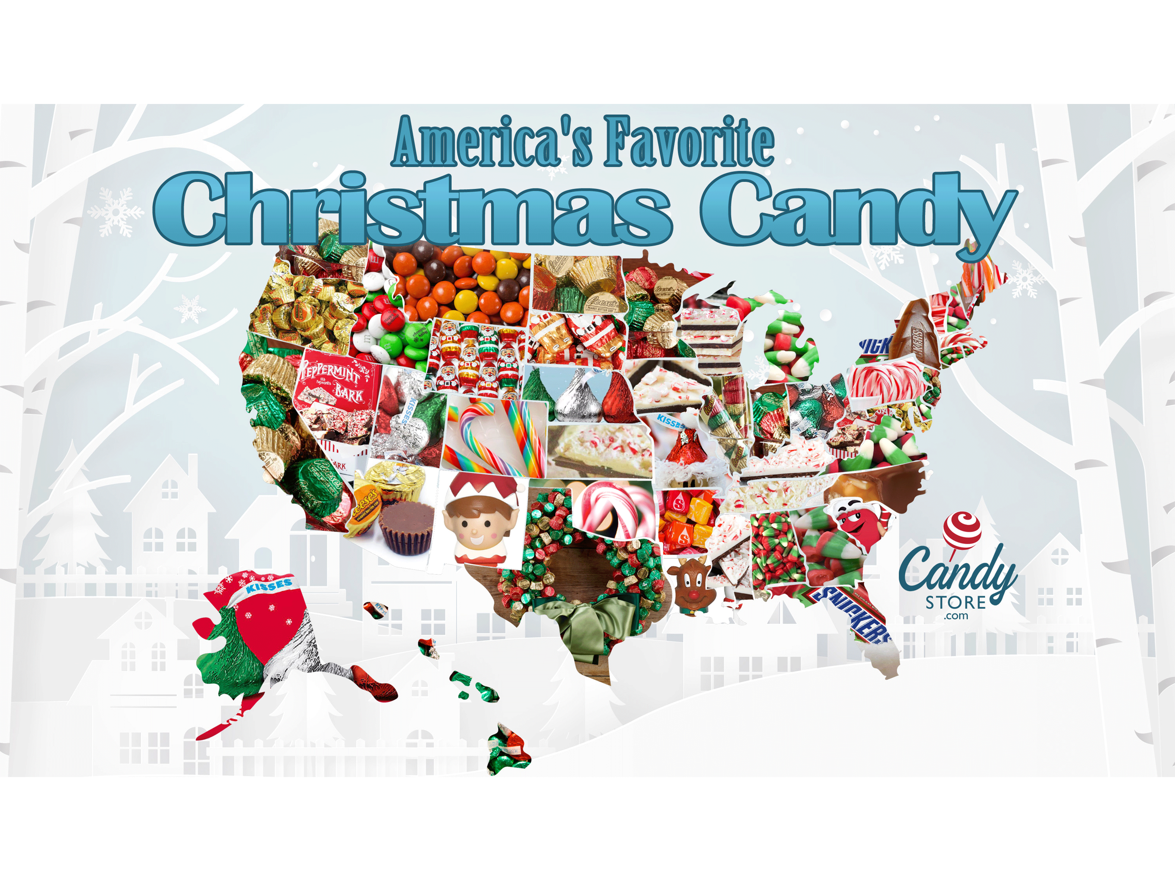 favorite Christmas candy map