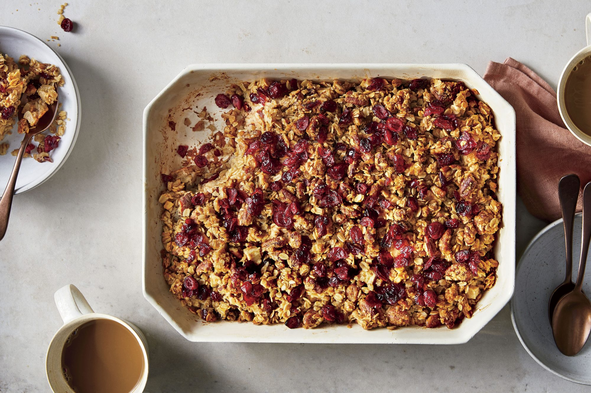 Baked Oatmeal with Apple, Cranberries, and Pecans