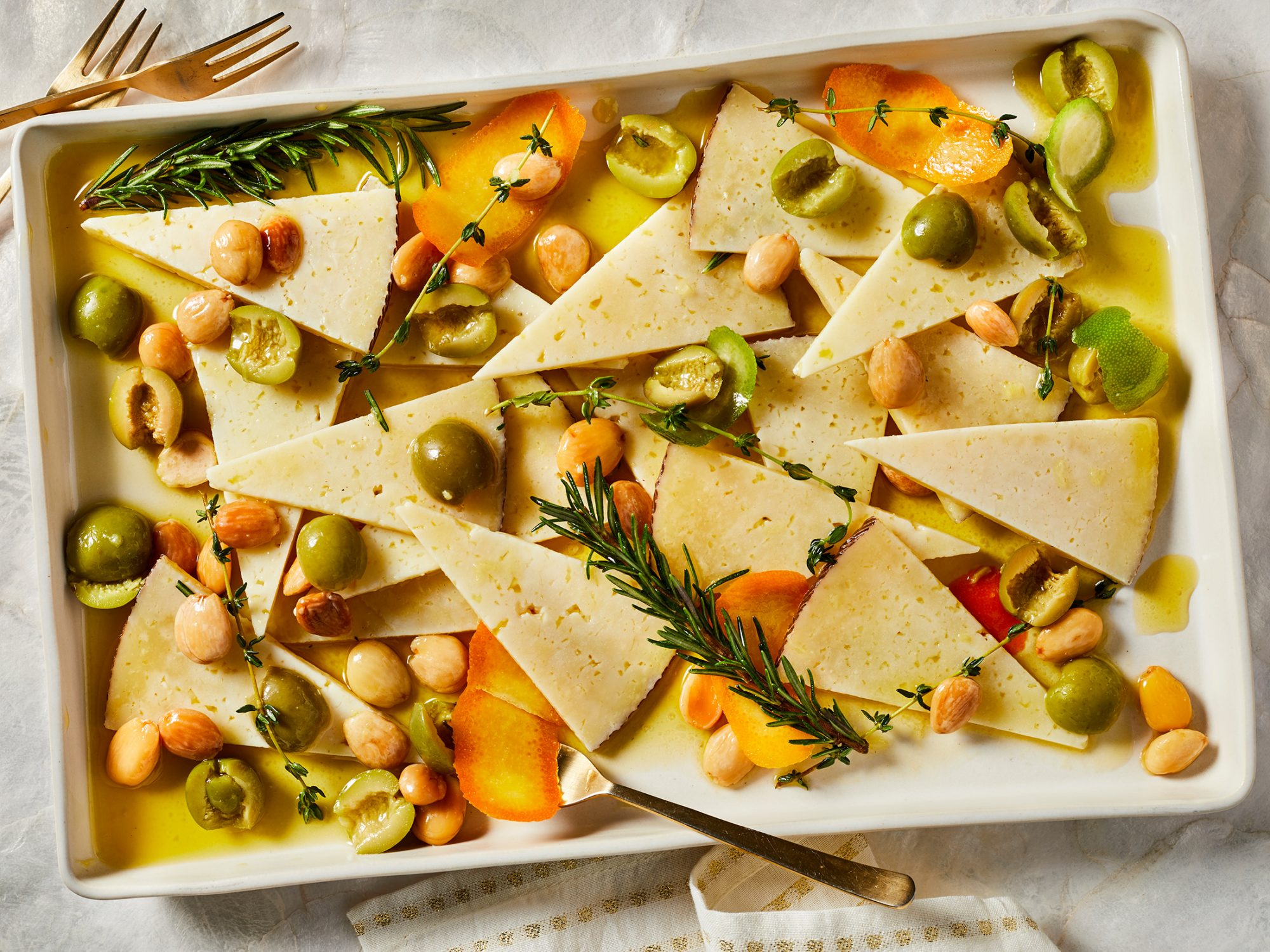 Marinated Manchego with Olives and Orange