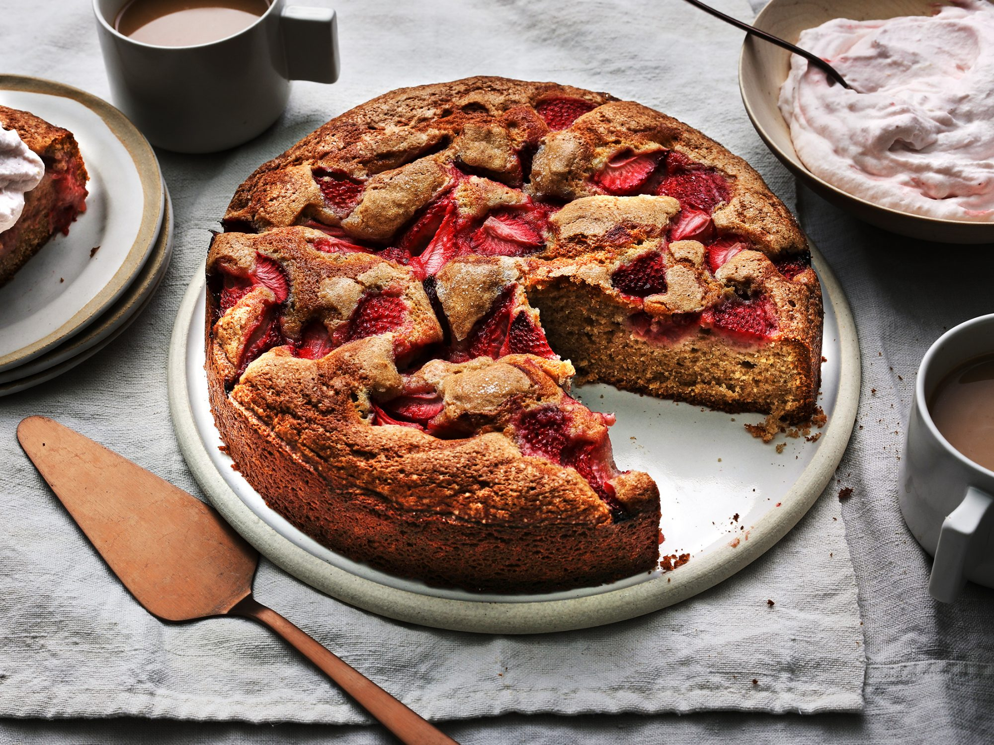 Strawberry Snacking Cake with Cream image