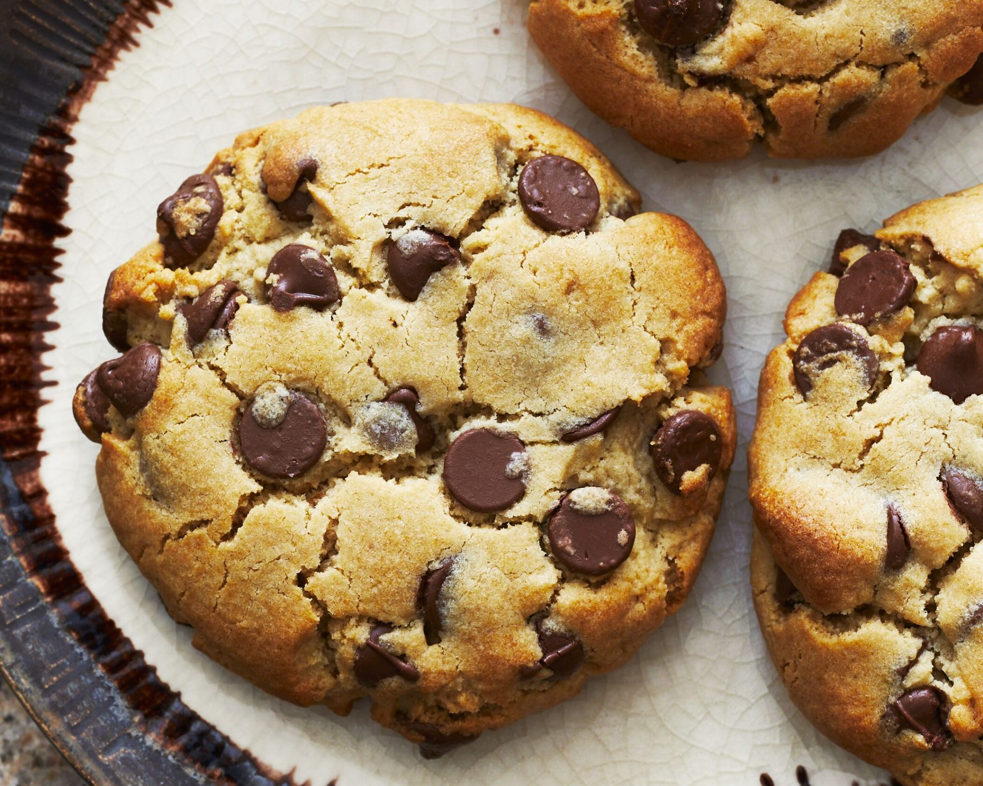 Thick Chocolate Chip Cookies Plated