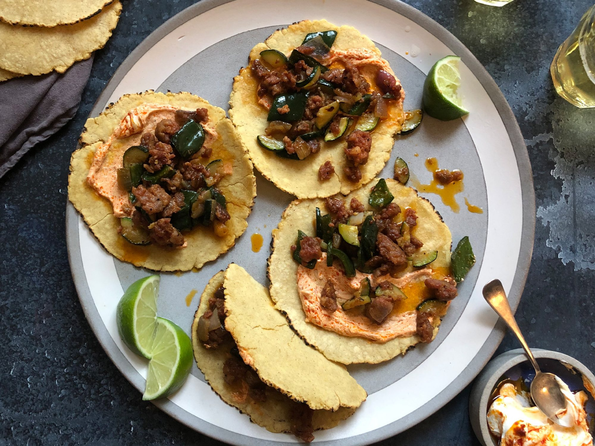 Spicy Sausage Tacos with Zucchini and Poblanos