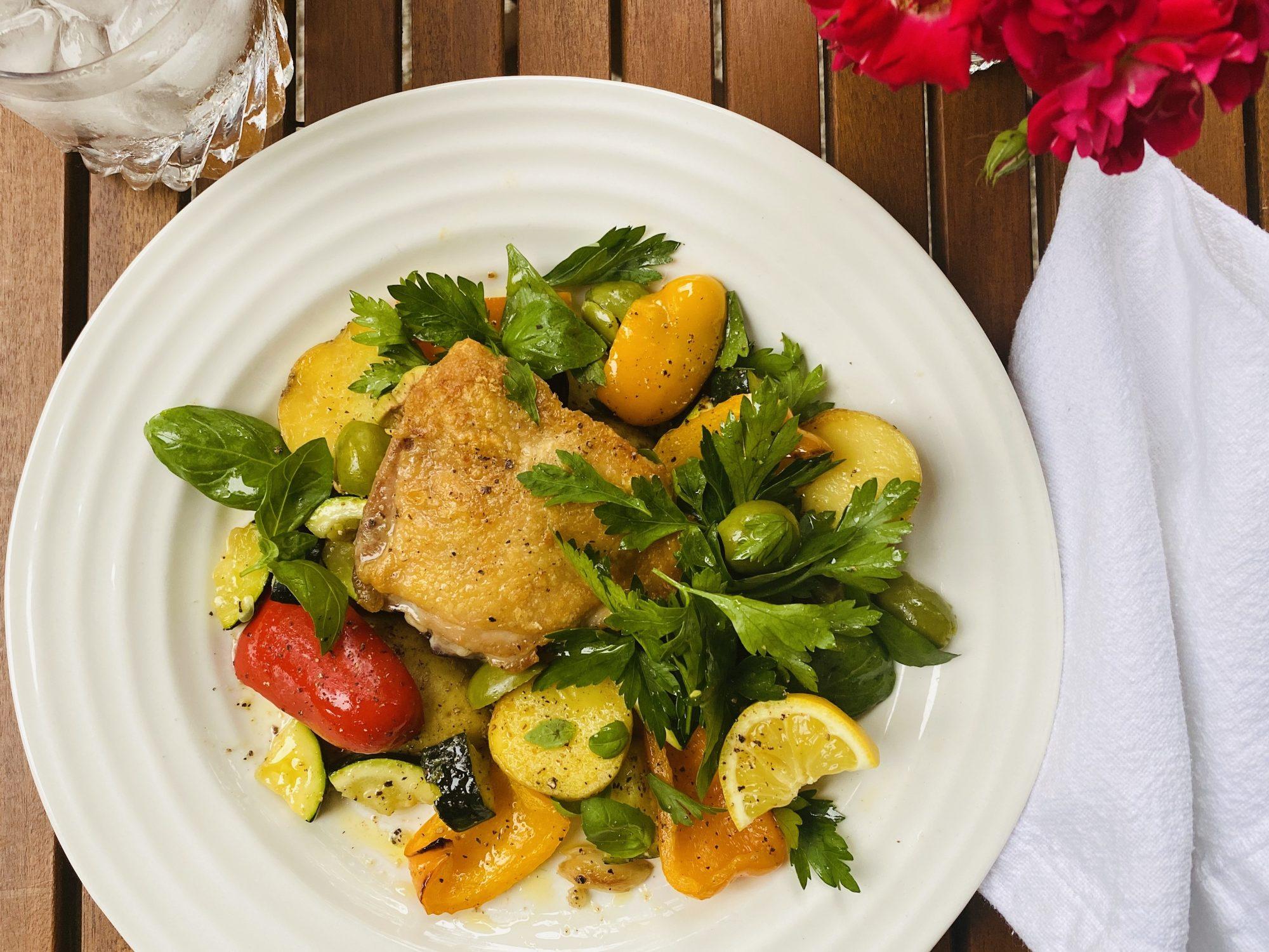 mr - Crispy Chicken Thighs With Summer Veggies Image