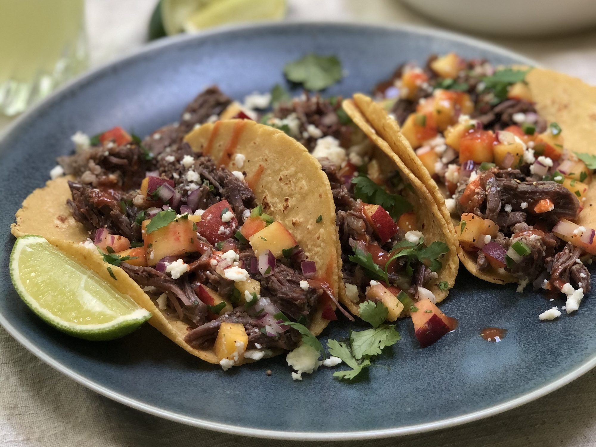 mr - Instant Pot Short Rib Tacos with Peach Salsa Image