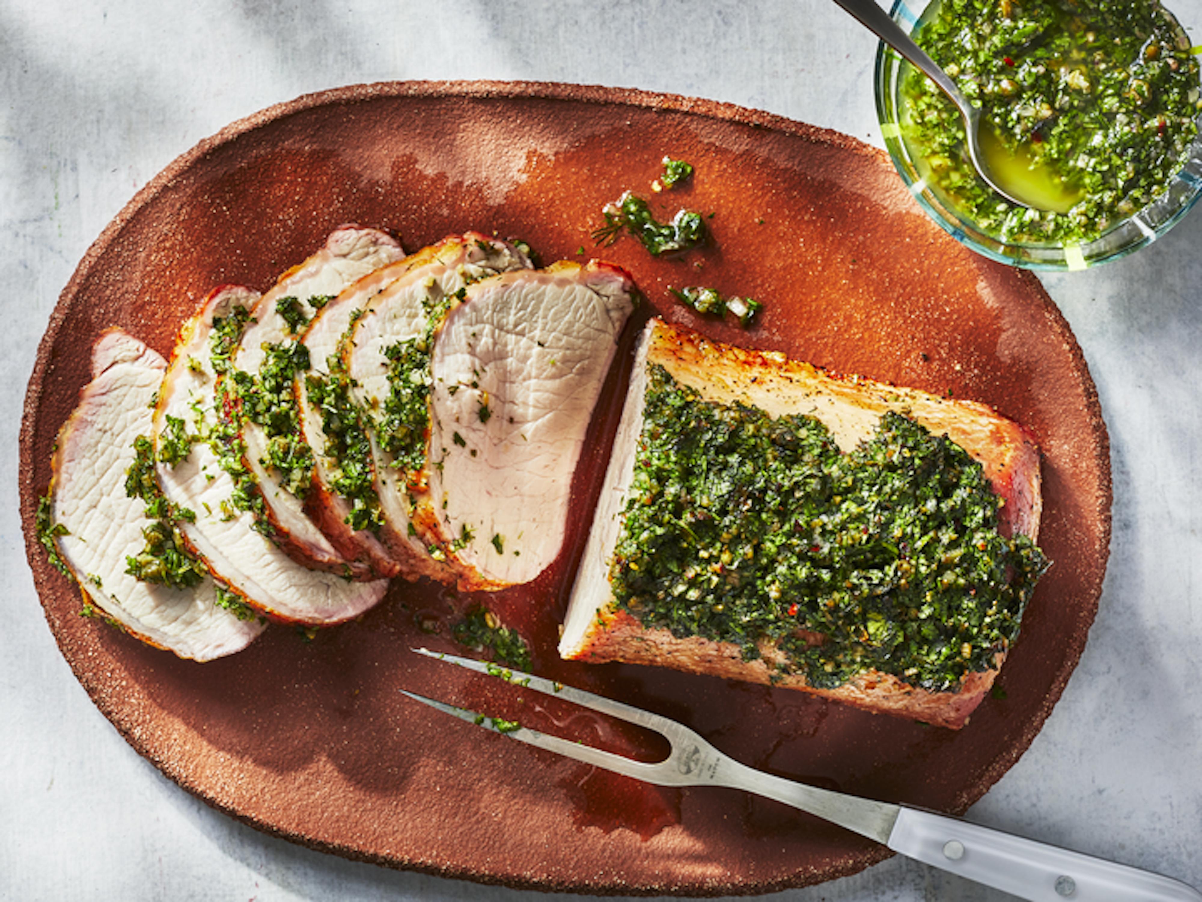 mr - Pellet Grill Pork Loin With Salsa Verde Image