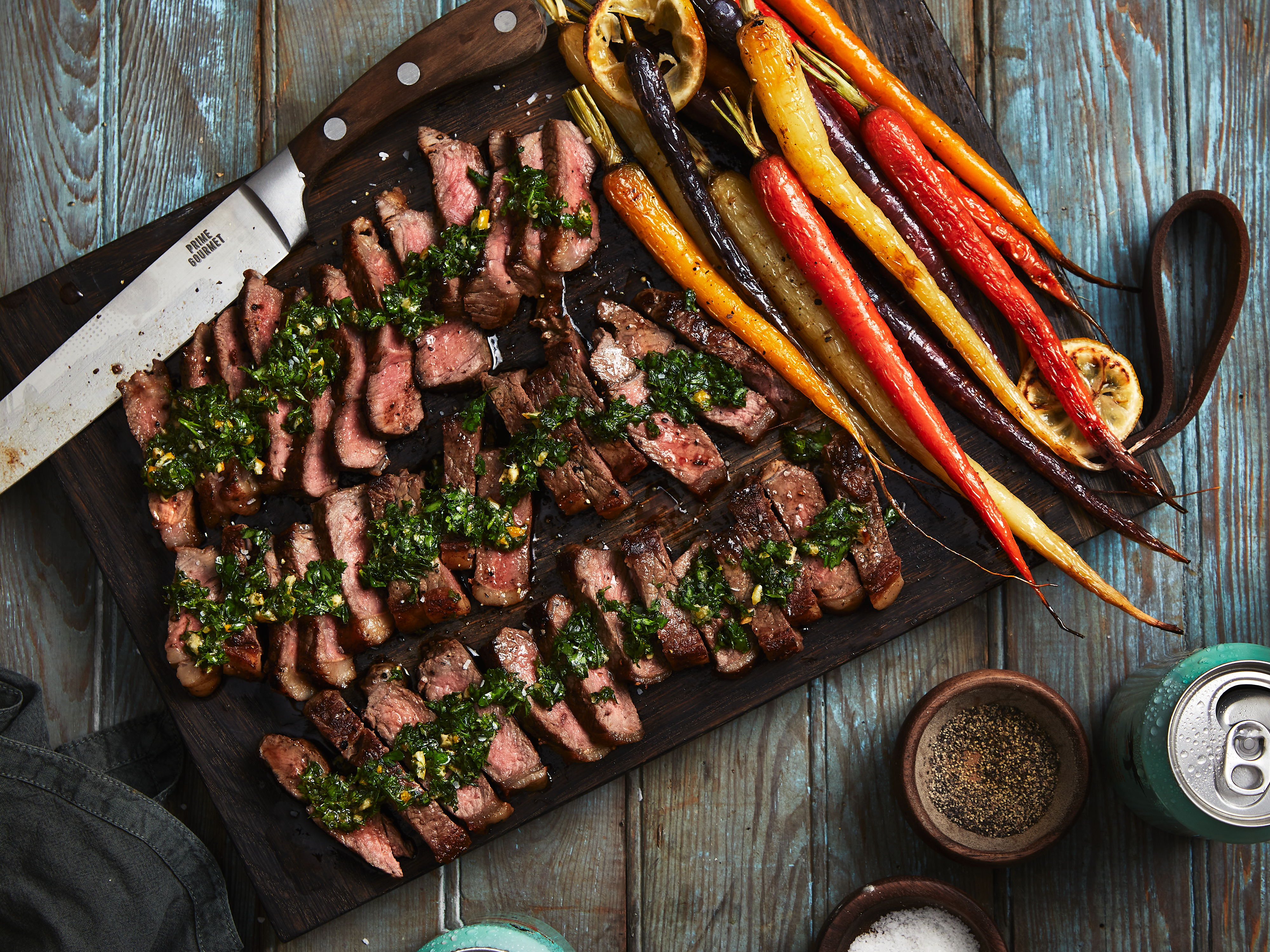 Steak with Roasted Carrots and Carrot Top Gremolata