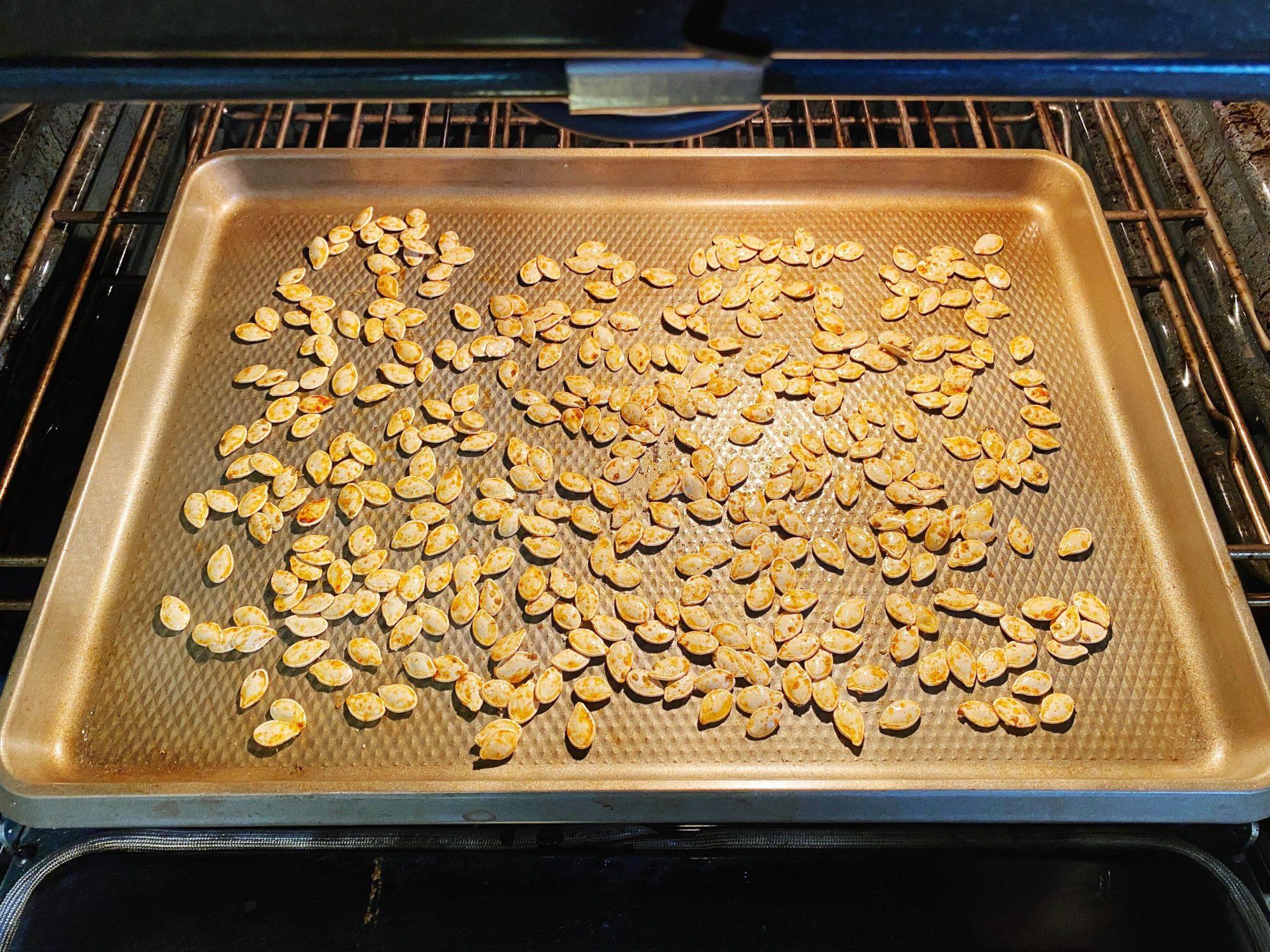 Pumpkin seeds in oven