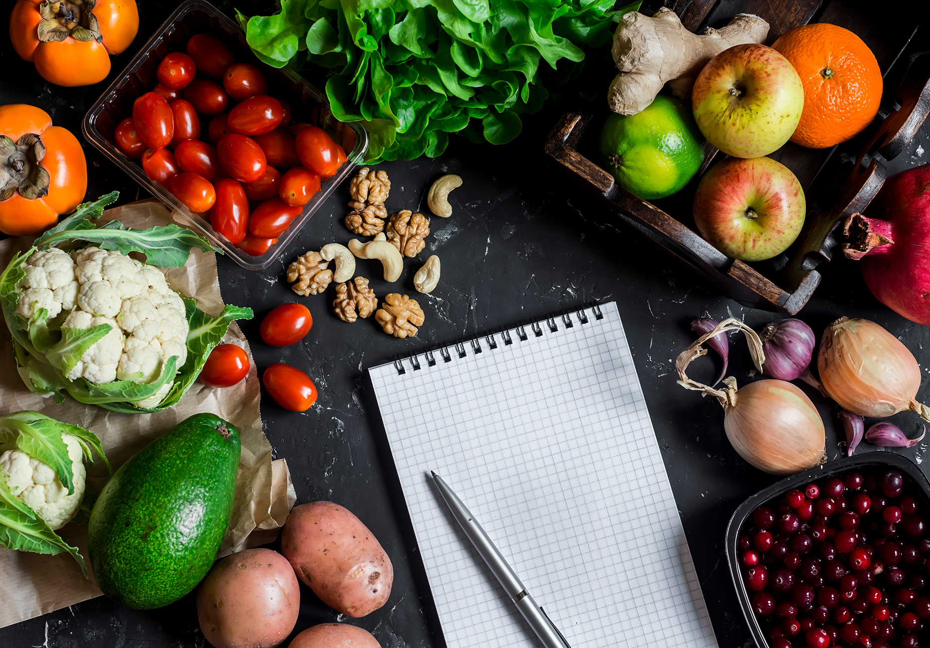 Assortment of fresh vegetables and fruit, clean Notepad