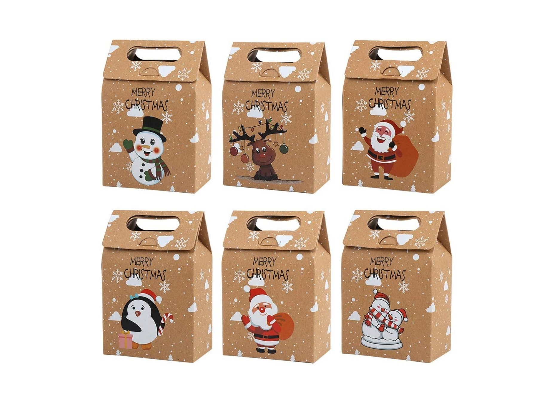Christmas Handled Kraft Boxes