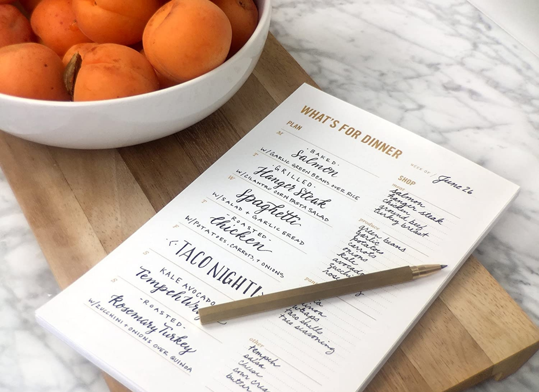 Dinner planner notepad