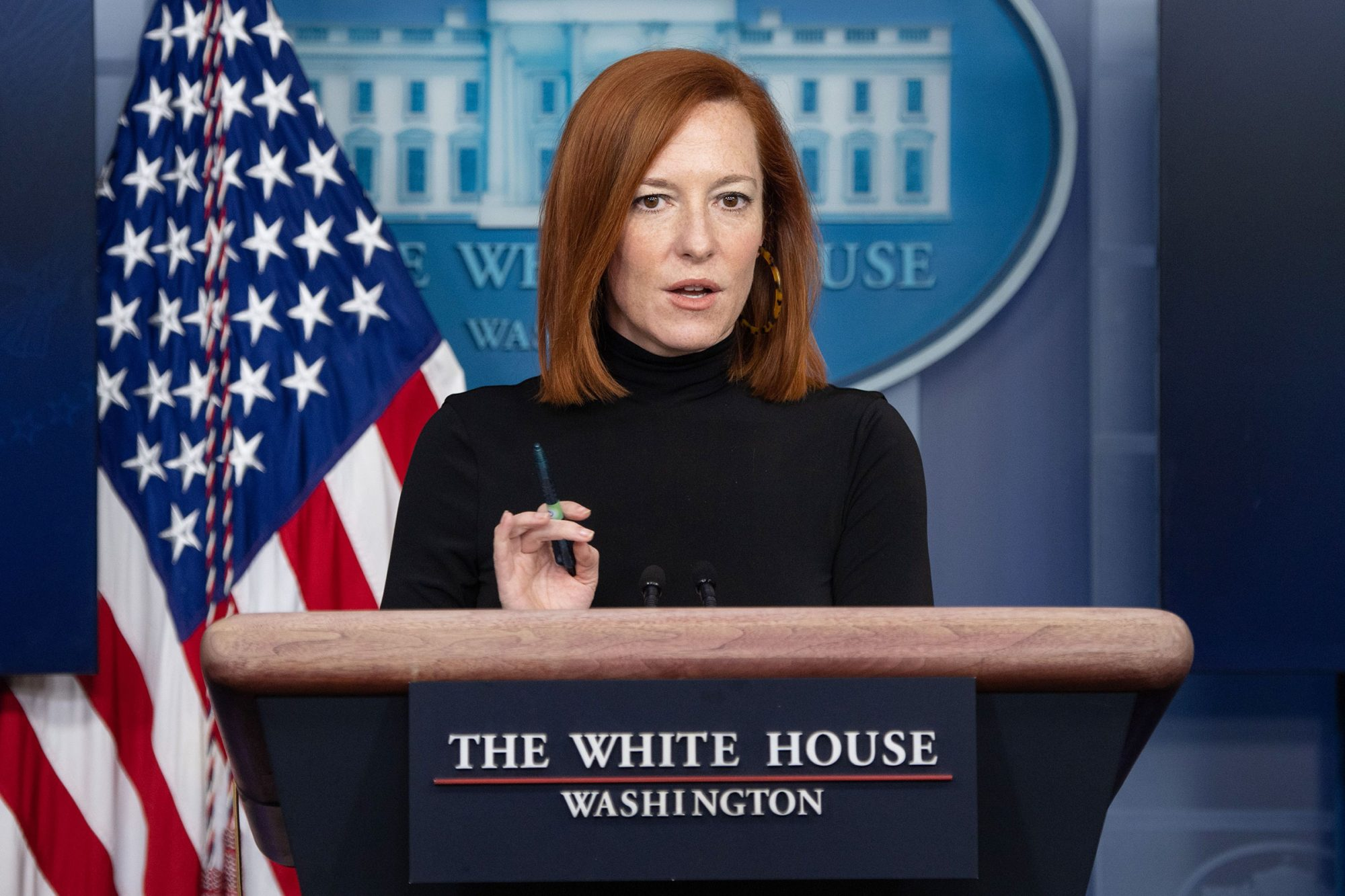 White House Press Secretary Jen Psaki holds the daily press briefing in the Brady Press Briefing Room of the White House in Washington, DC, February 3, 2021