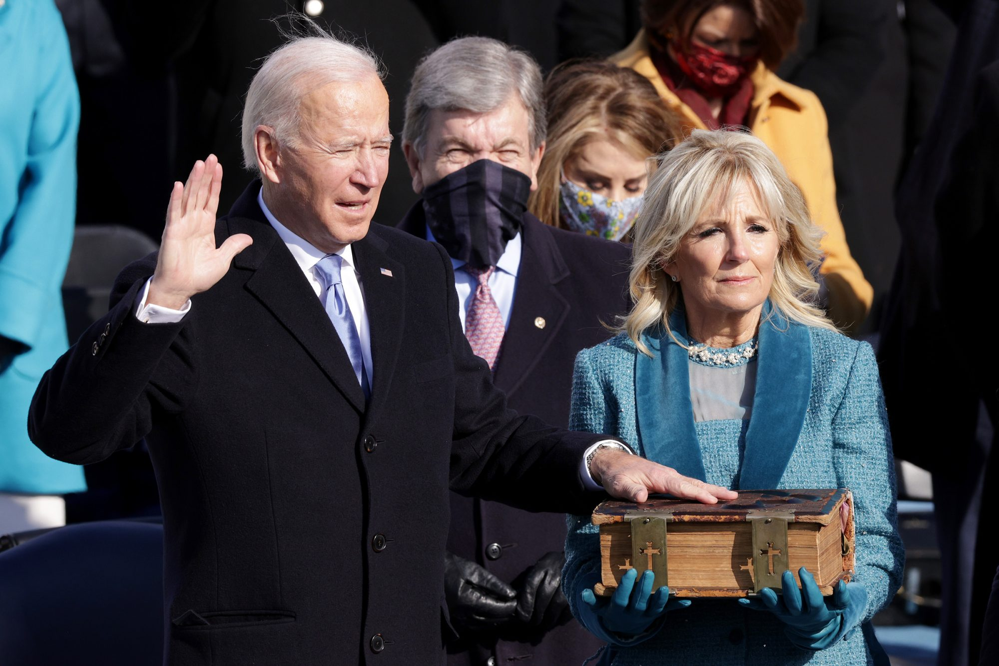 Joe Biden is sworn in as U.S. President as his wife Dr. Jill Biden looks on during his inauguration on the West Front of the U.S. Capitol on January 20, 2021 in Washington, DC