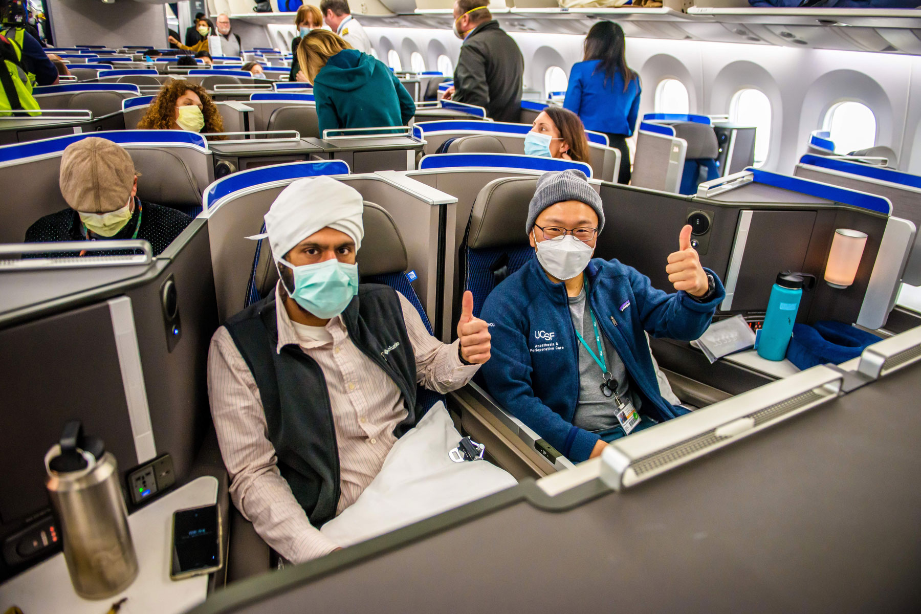 medical workers aboard a United airplane