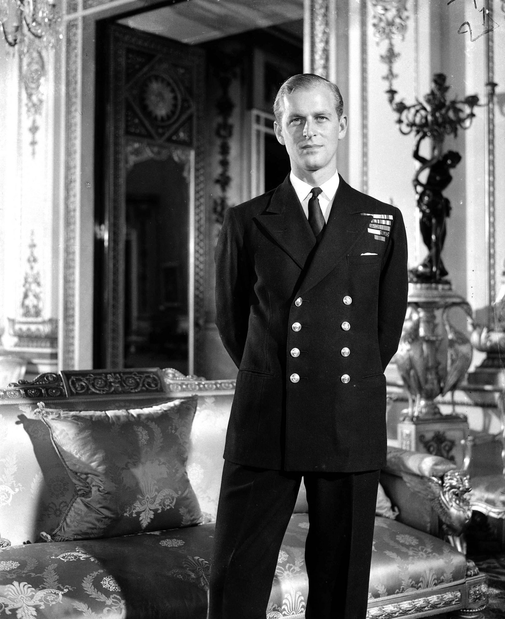 10th July 1947, Prince Philip pictured in Buckingham Palace after the offical announcement of his engagement to Princess Elizabeth