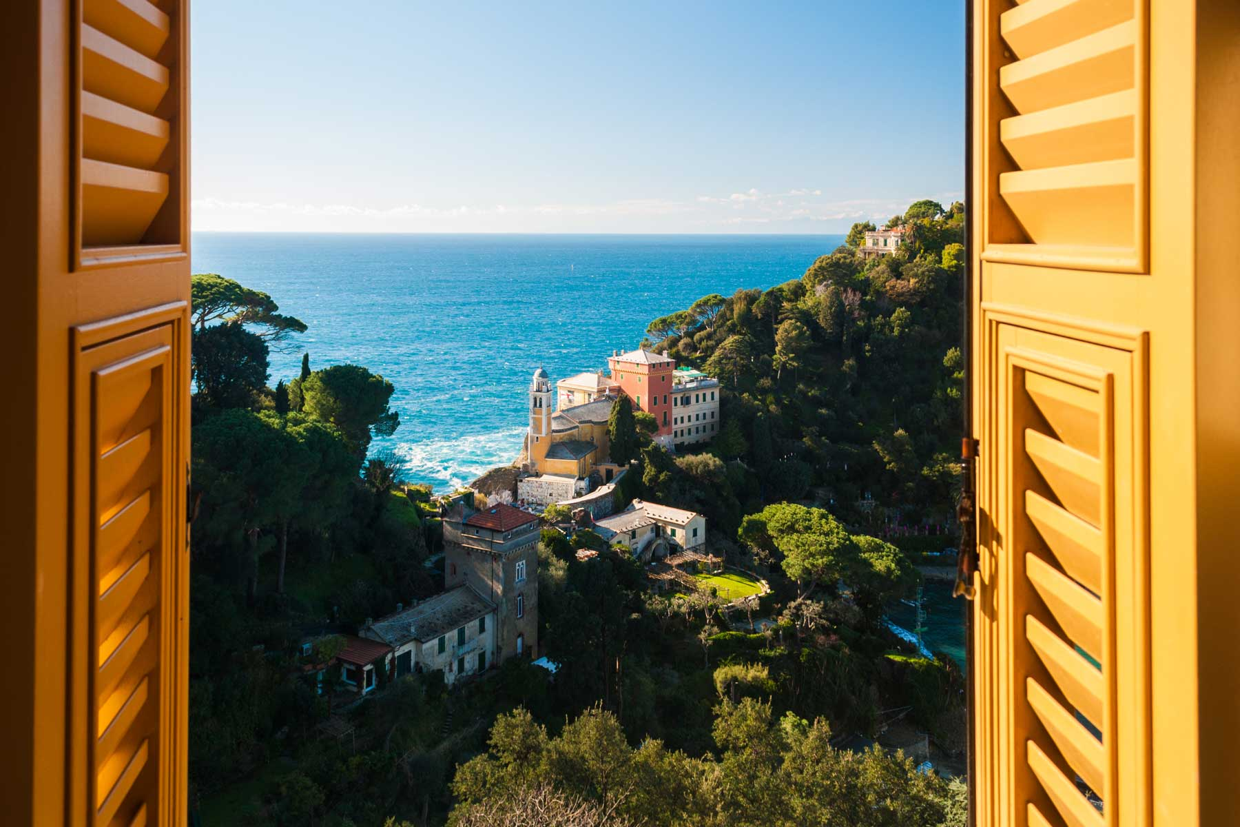 View from a window in Portofino, Italy of the sea