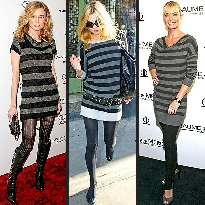 GREY STRIPED SWEATER DRESSES